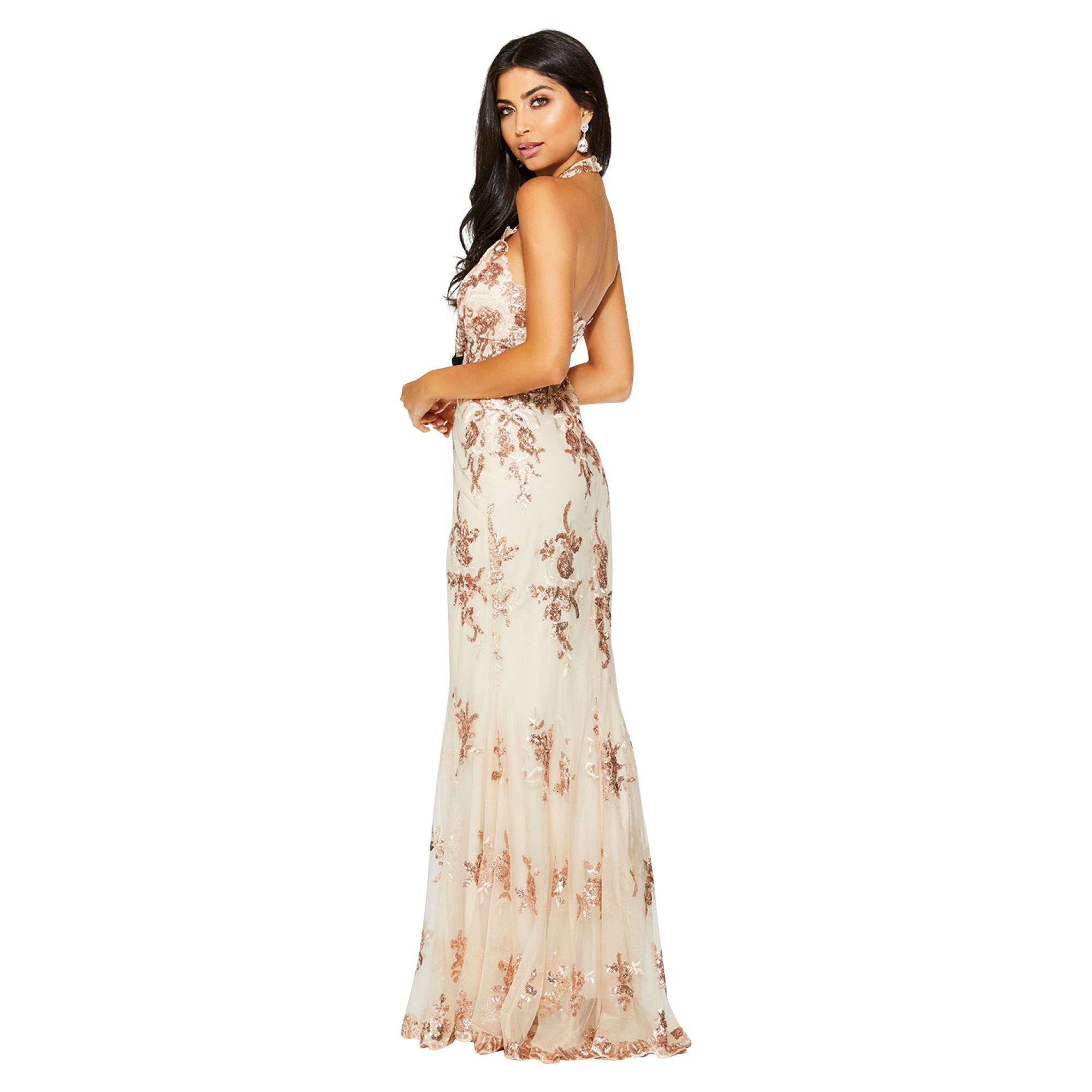 0f47d5a9 Quiz Rose Gold Chiffon Sequin Cut Out Maxi Dress in Metallic - Lyst