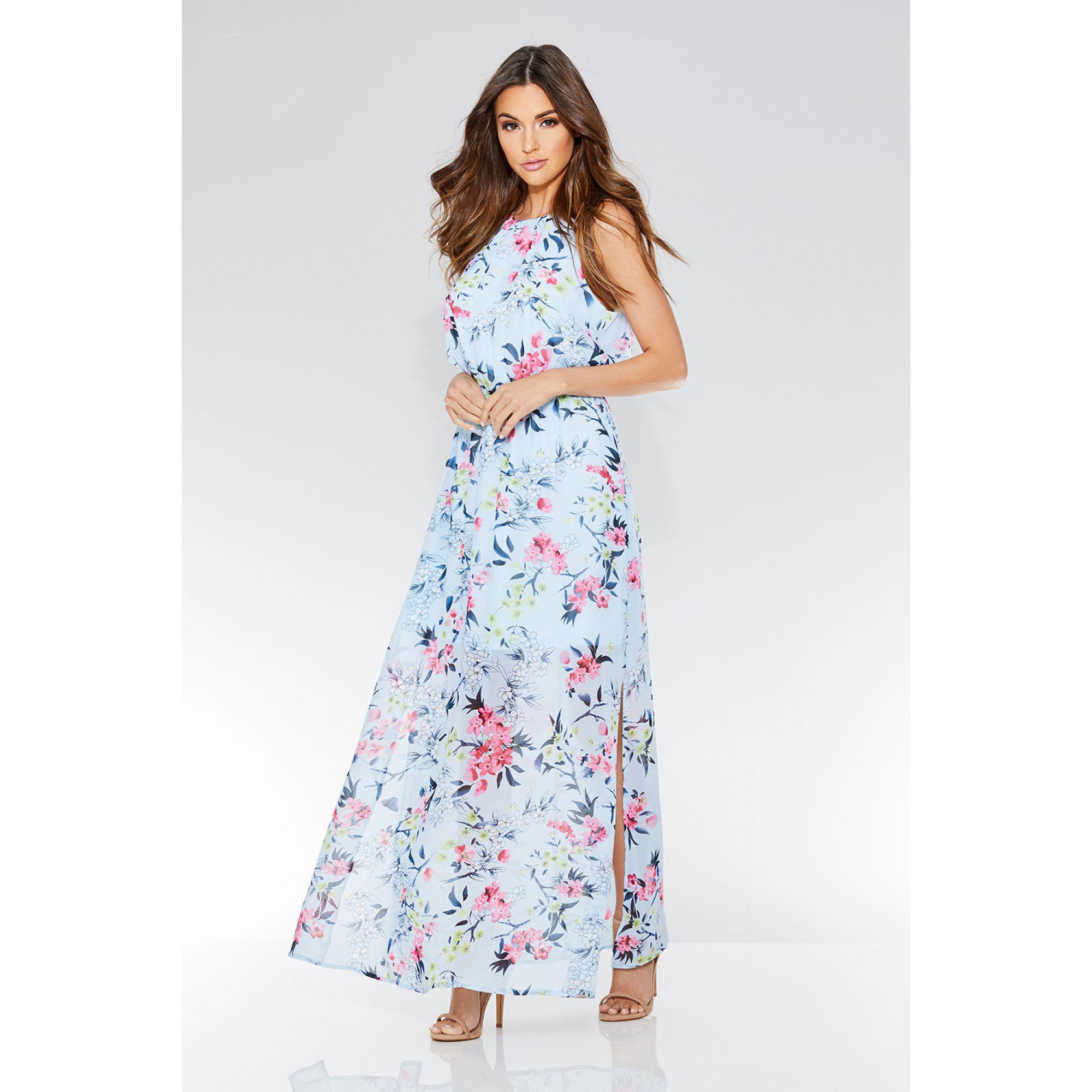 818592807be Quiz. Women s Blue Floral Print Chiffon High Neck Sleeveless Maxi Dress