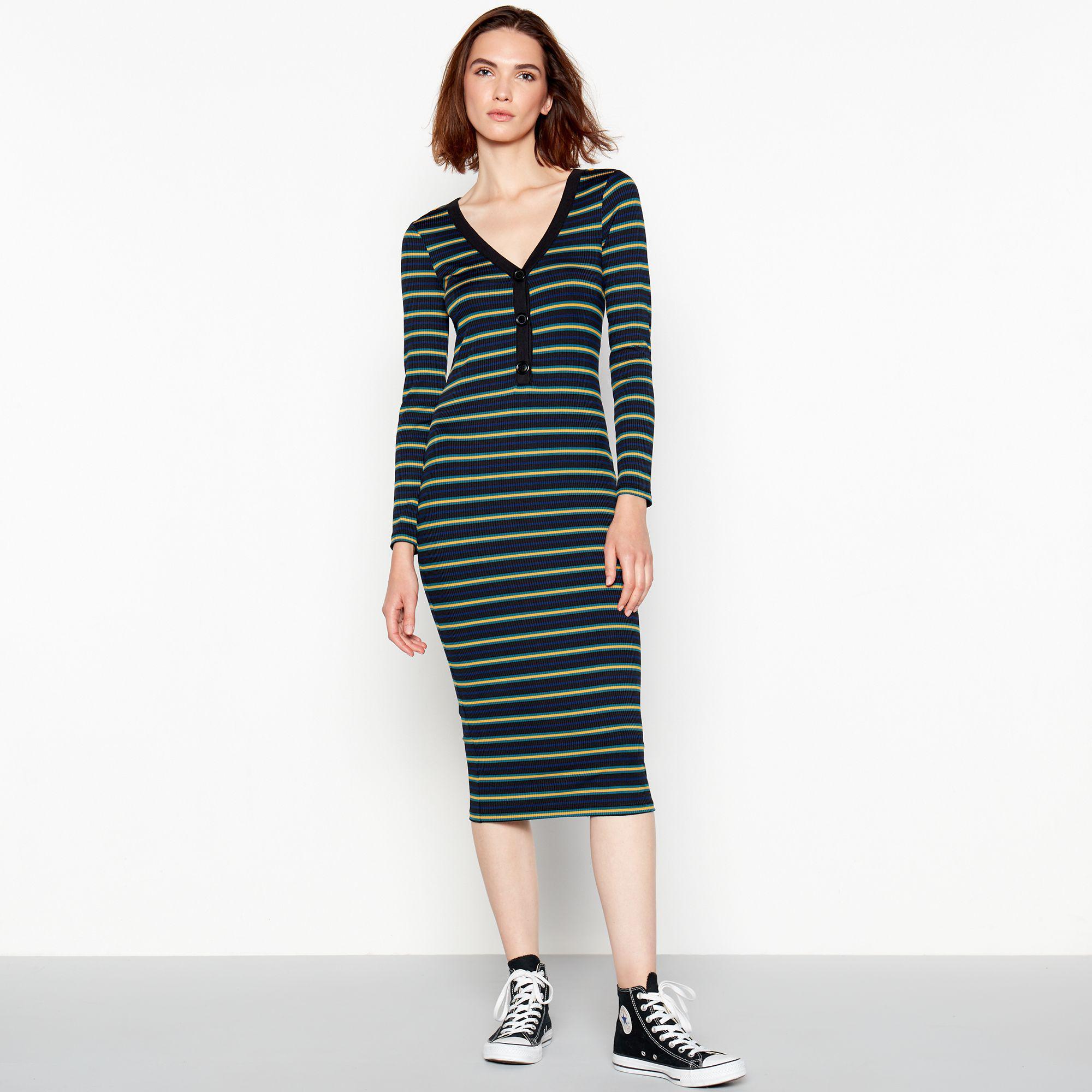 Red Herring. Women s Multicoloured Ribbed Stripe Midi Dress 27148d37a