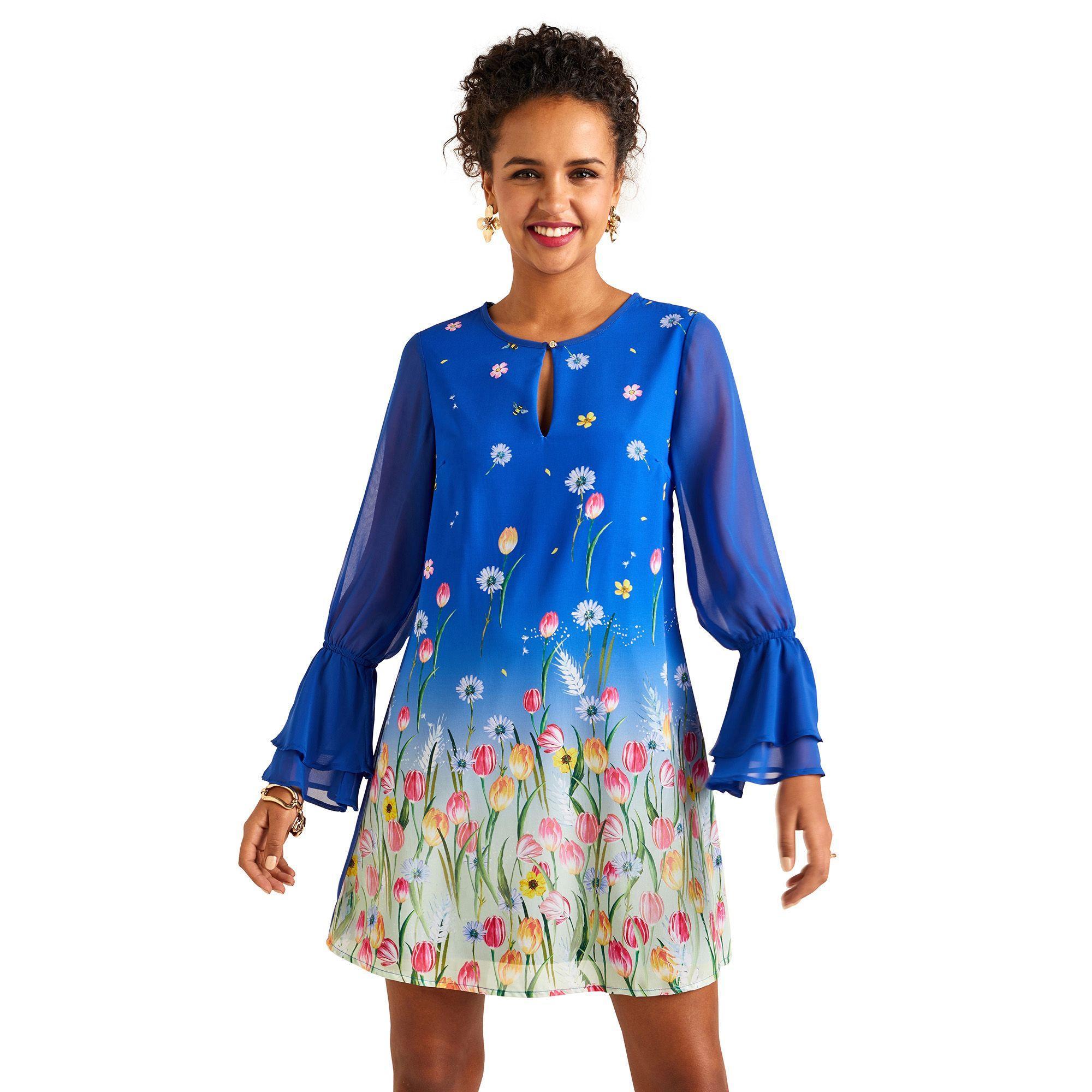 7b34a0be276f2 Yumi' Blue Floral Print Layered Frill Cuff Tunic Dress in Blue - Lyst