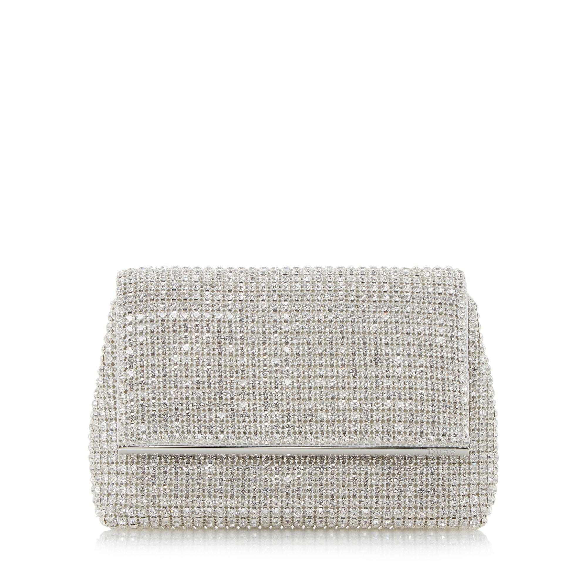 642fc1858b96 Dune. Women s Metallic Silver  everlina  Diamante Embellished Clutch Bag