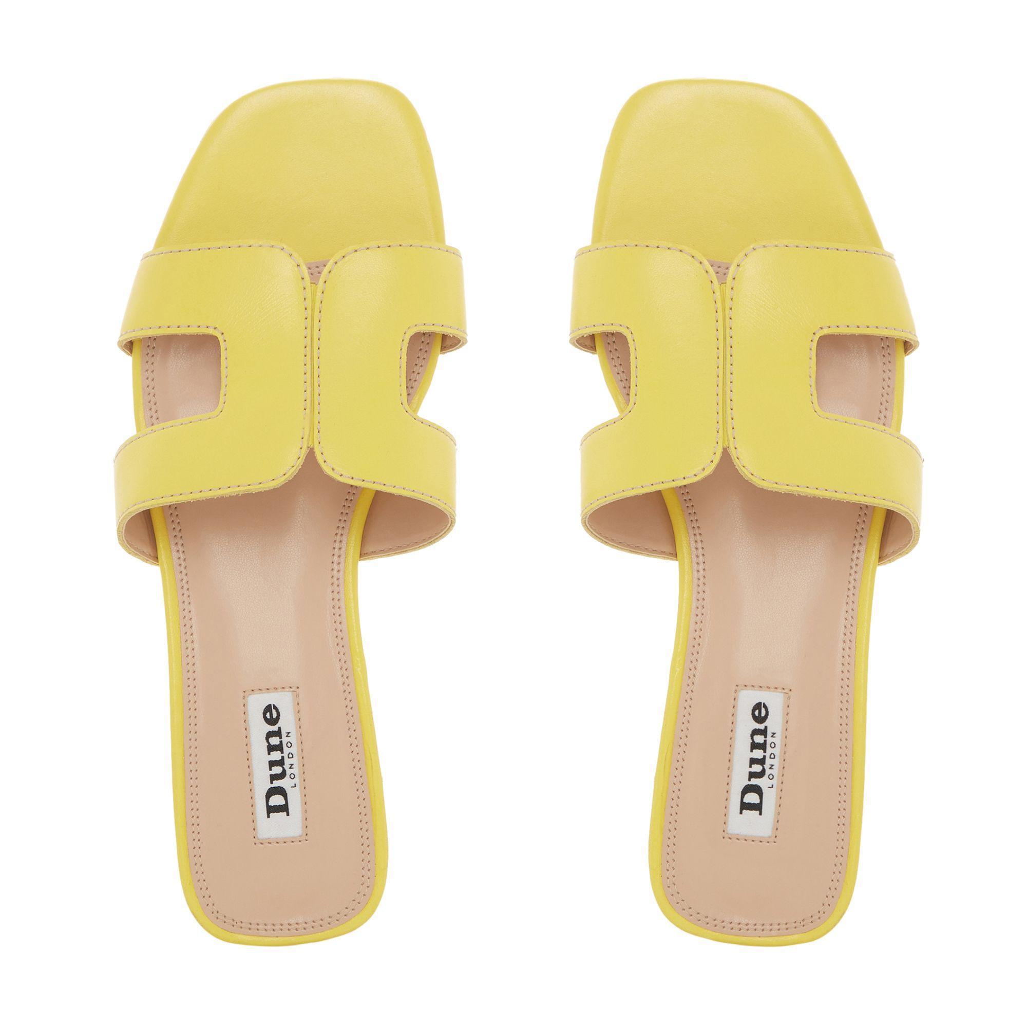 5c33e6d80 Dune - Yellow Leather  loupe  Block Heel Mule Sandals - Lyst. View  fullscreen