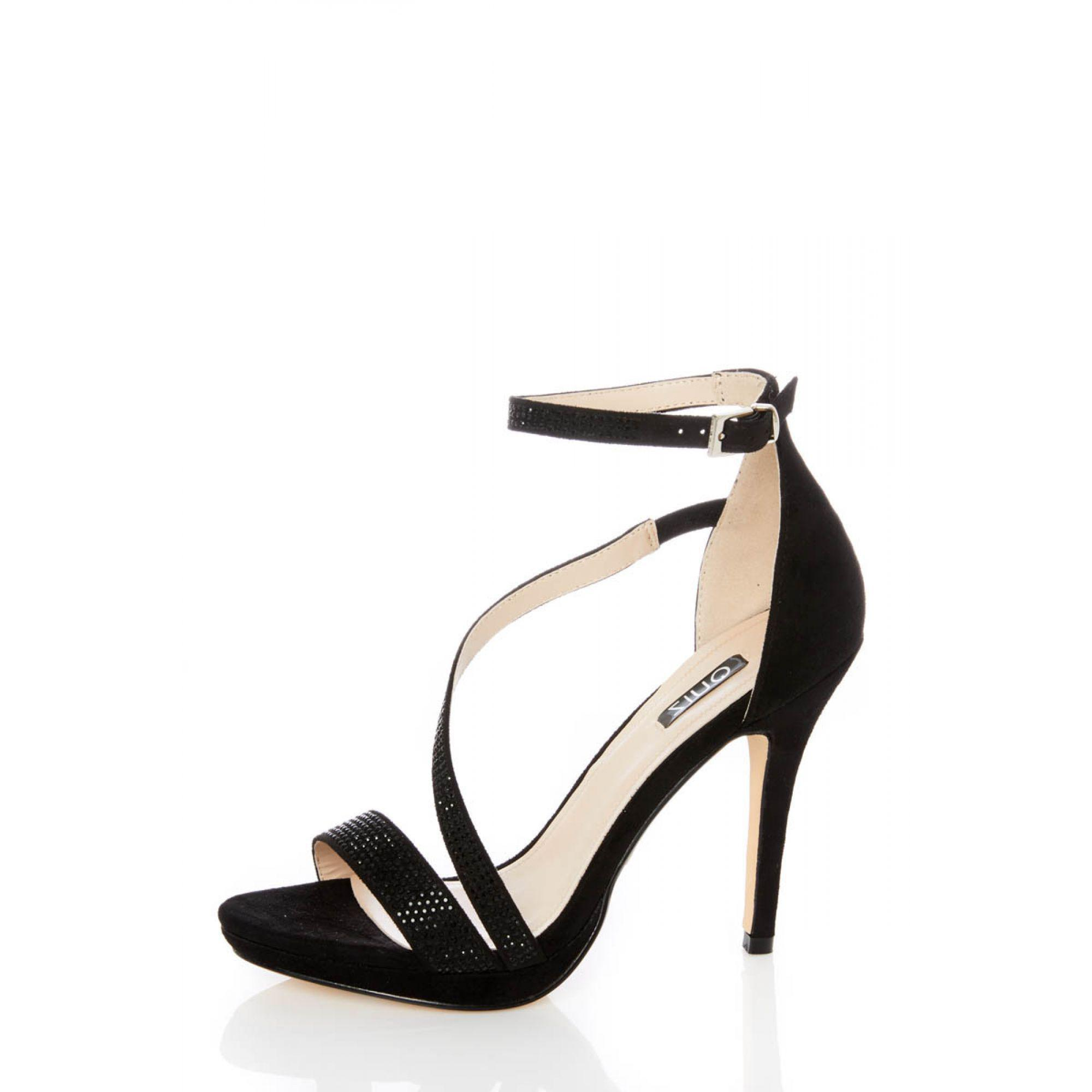 c58f0c085 Quiz Black Diamante Slant Strap Heel Sandals in Black - Lyst