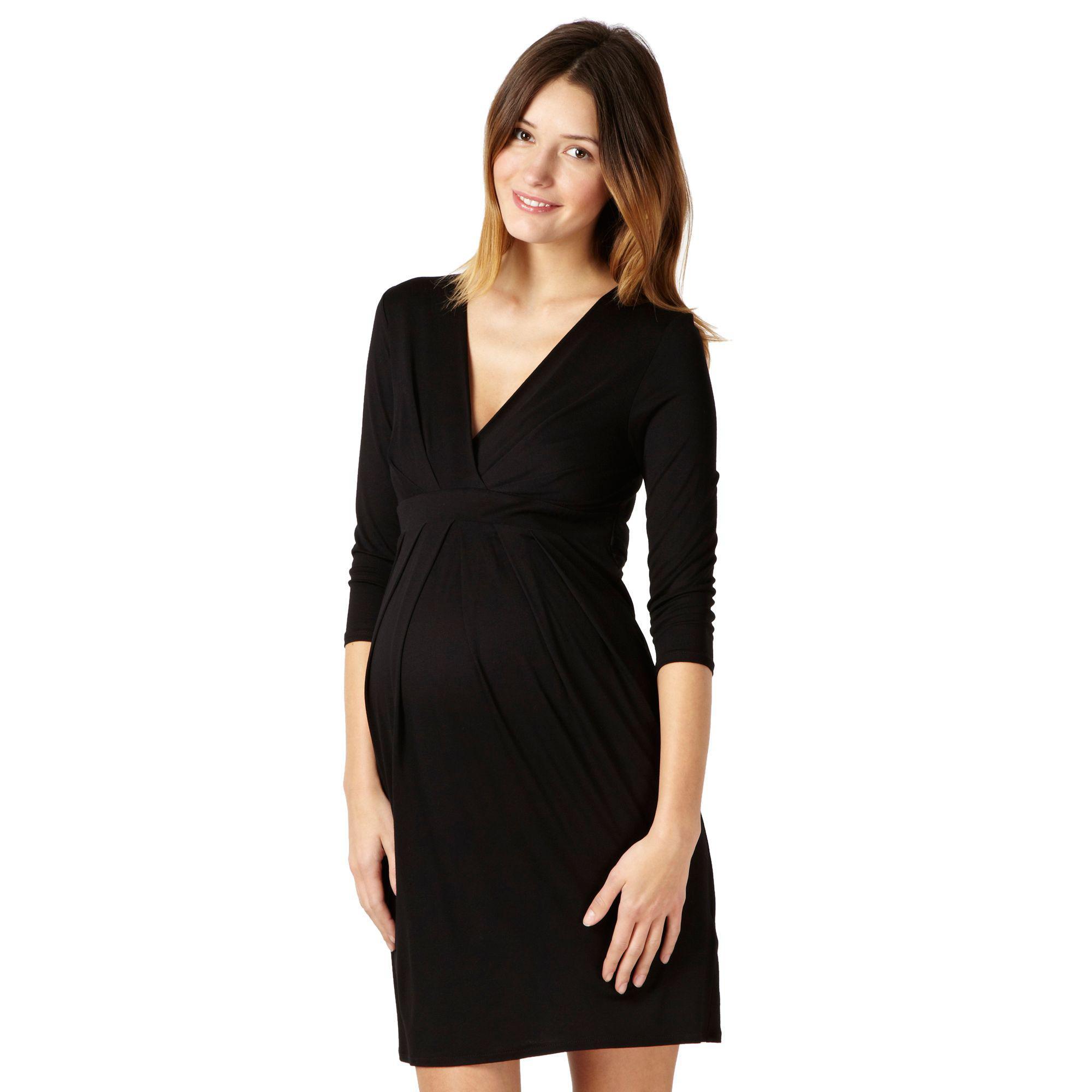 70f95391c10fb Red Herring Black Jersey Tie Back Maternity Dress in Black - Lyst