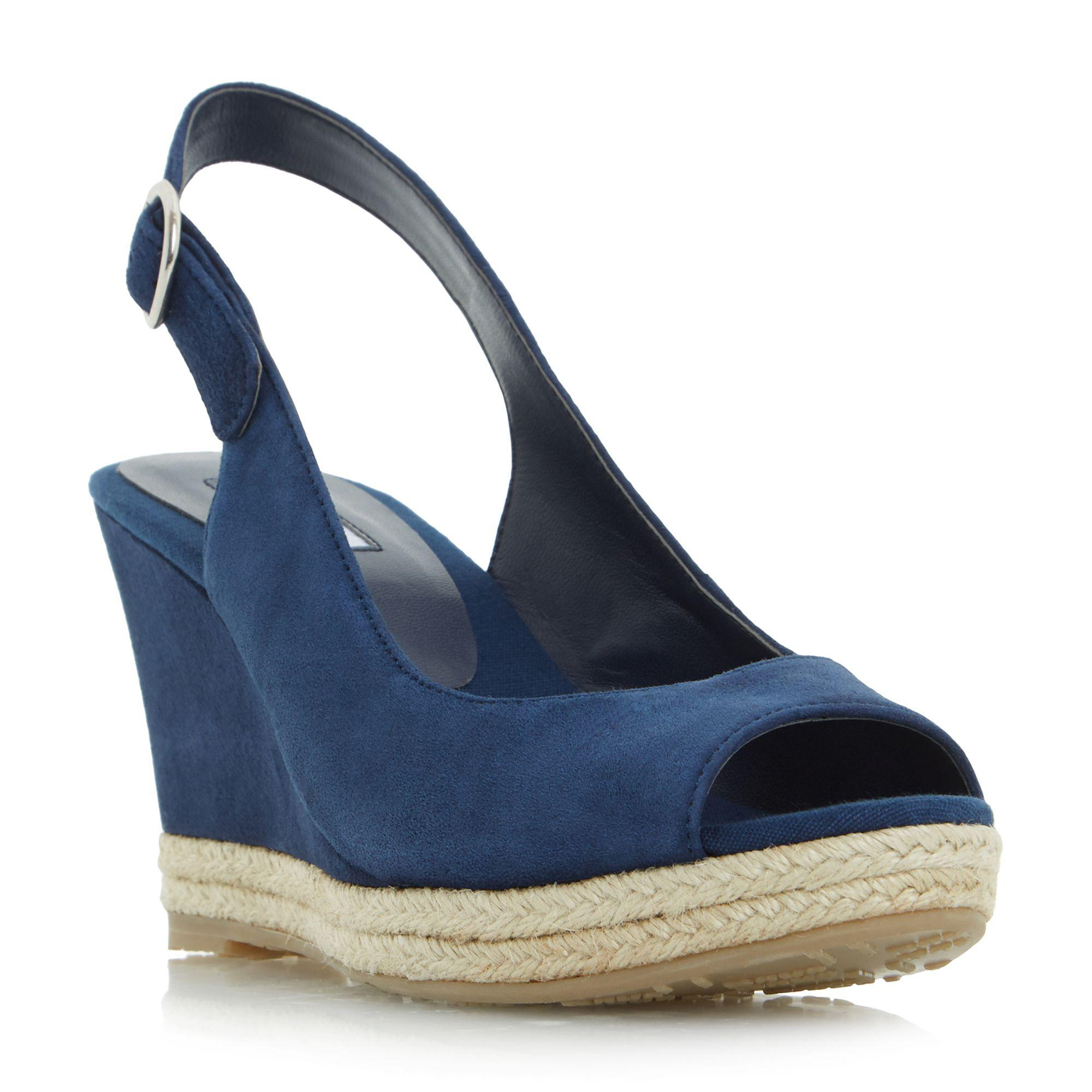 e0315590f4d0 Dune Navy  klick  Espadrille Trim Wedge Sandals in Blue - Lyst
