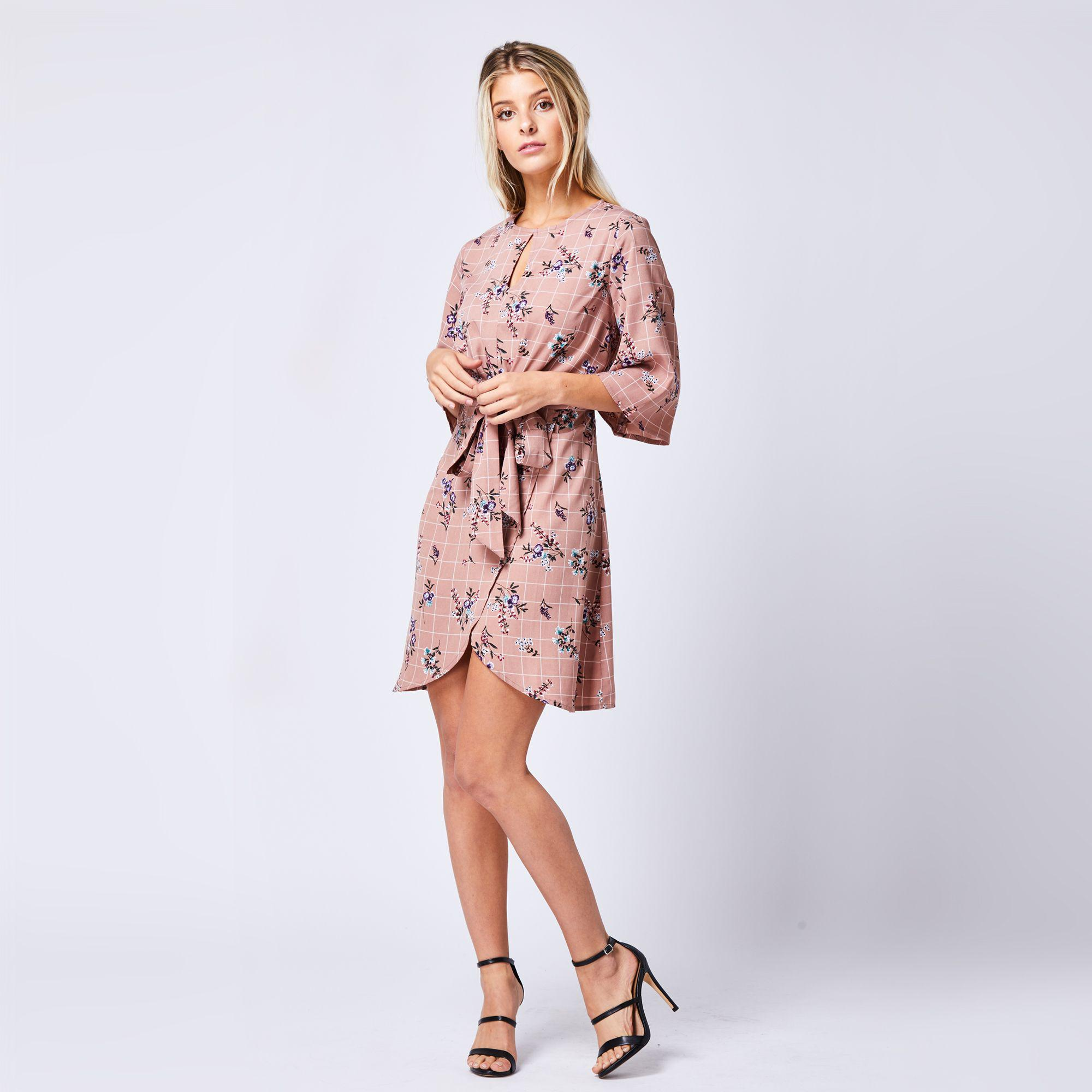 4d6cba4c191e Angeleye Nude Floaty Printed Floral Wrap Dress - Lyst