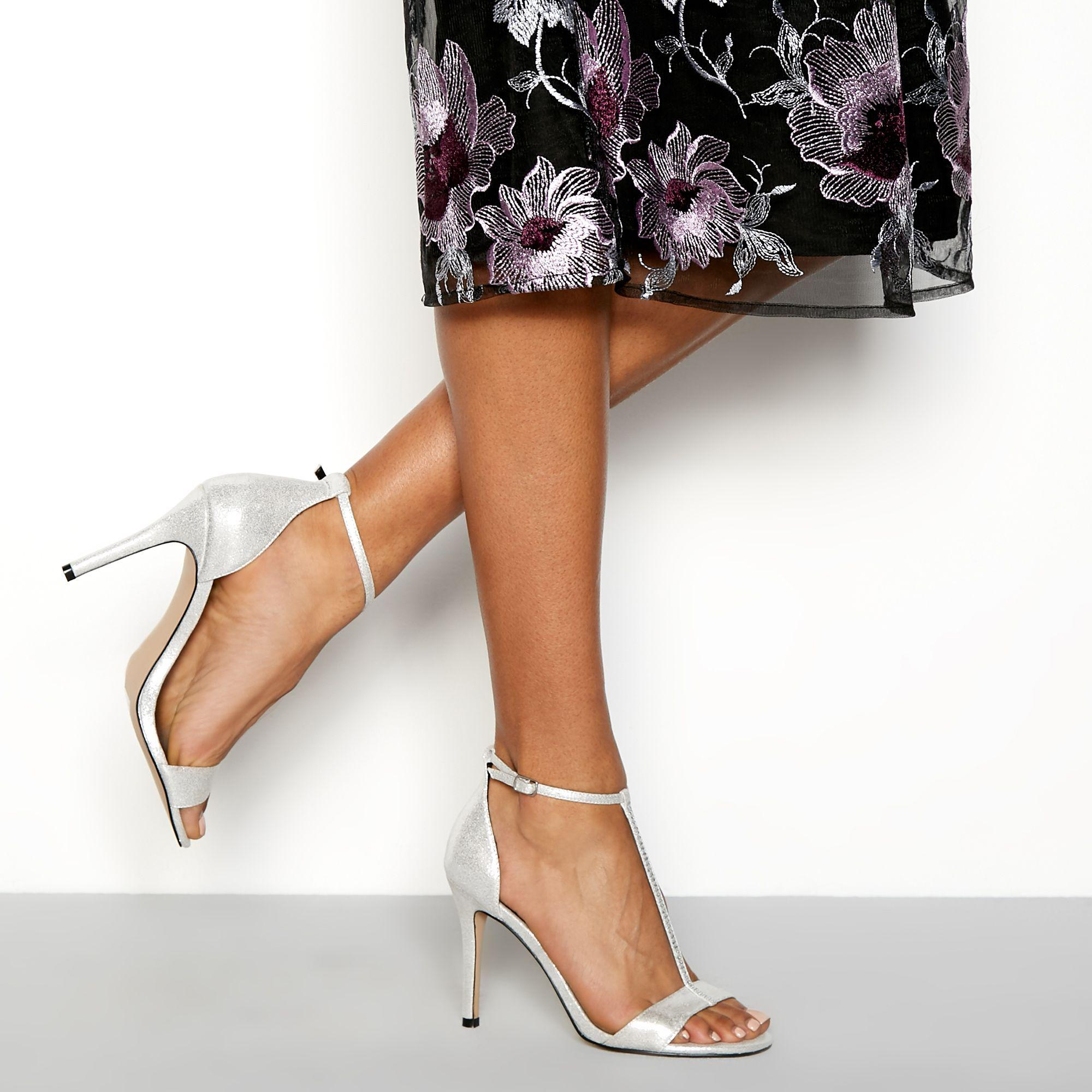 18d463dd80f Faith. Women s Metallic Silver T-bar Sparkle Stiletto High Heels Sandals