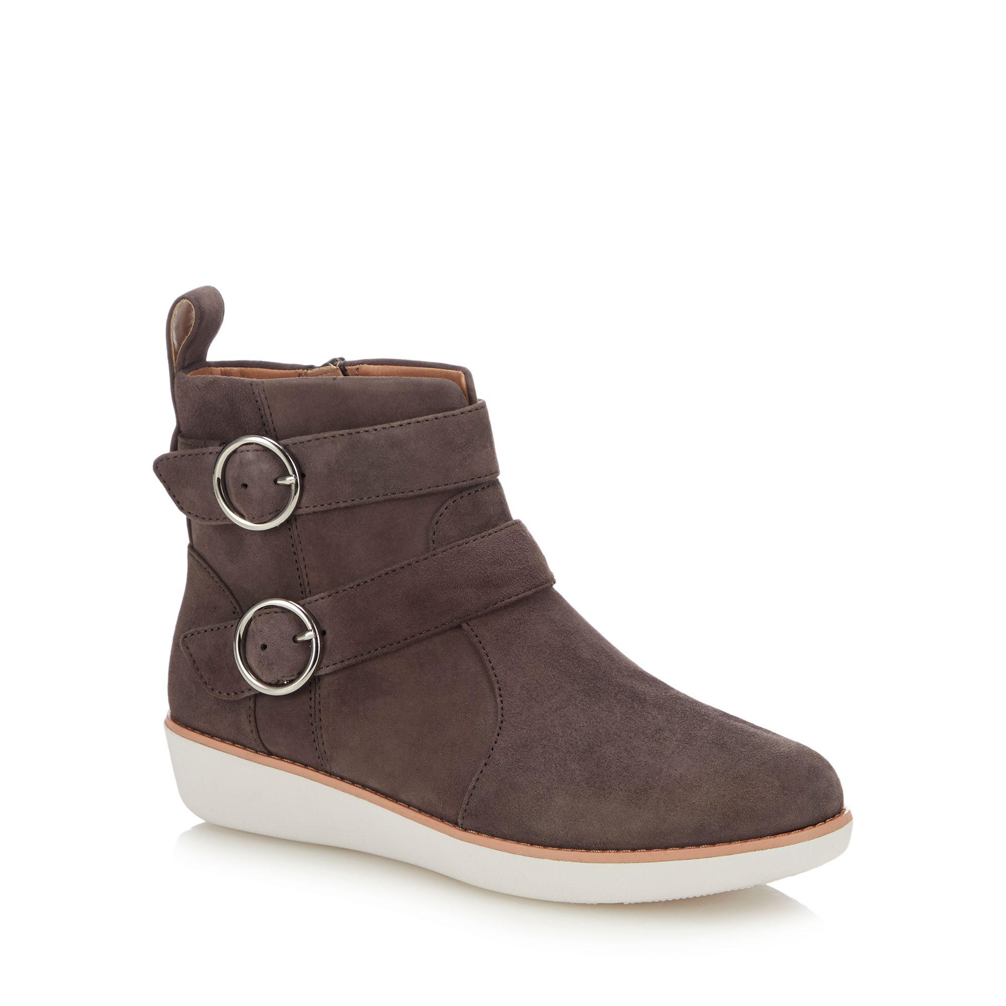1588b905b276 Fitflop Grey Suede  oona Buckle  Ankle Boots in Gray - Lyst