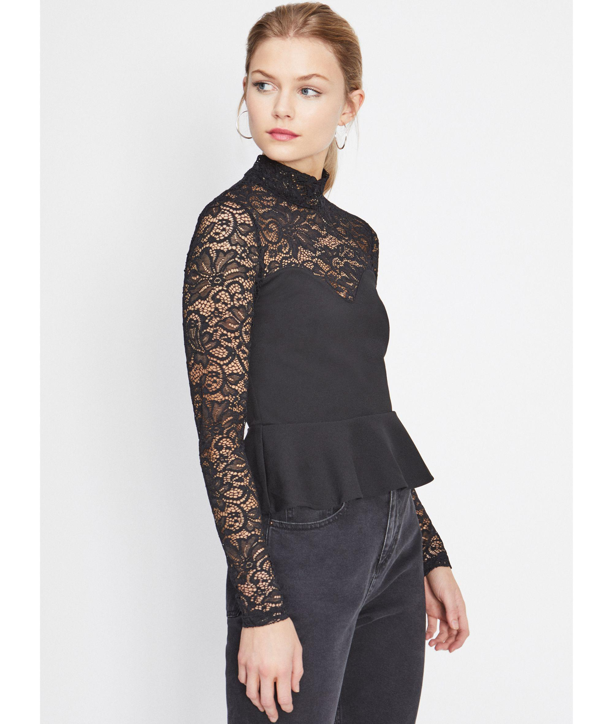 bec39bc0e2bf1 Miss Selfridge Black Lace Peplum Top in Black - Lyst