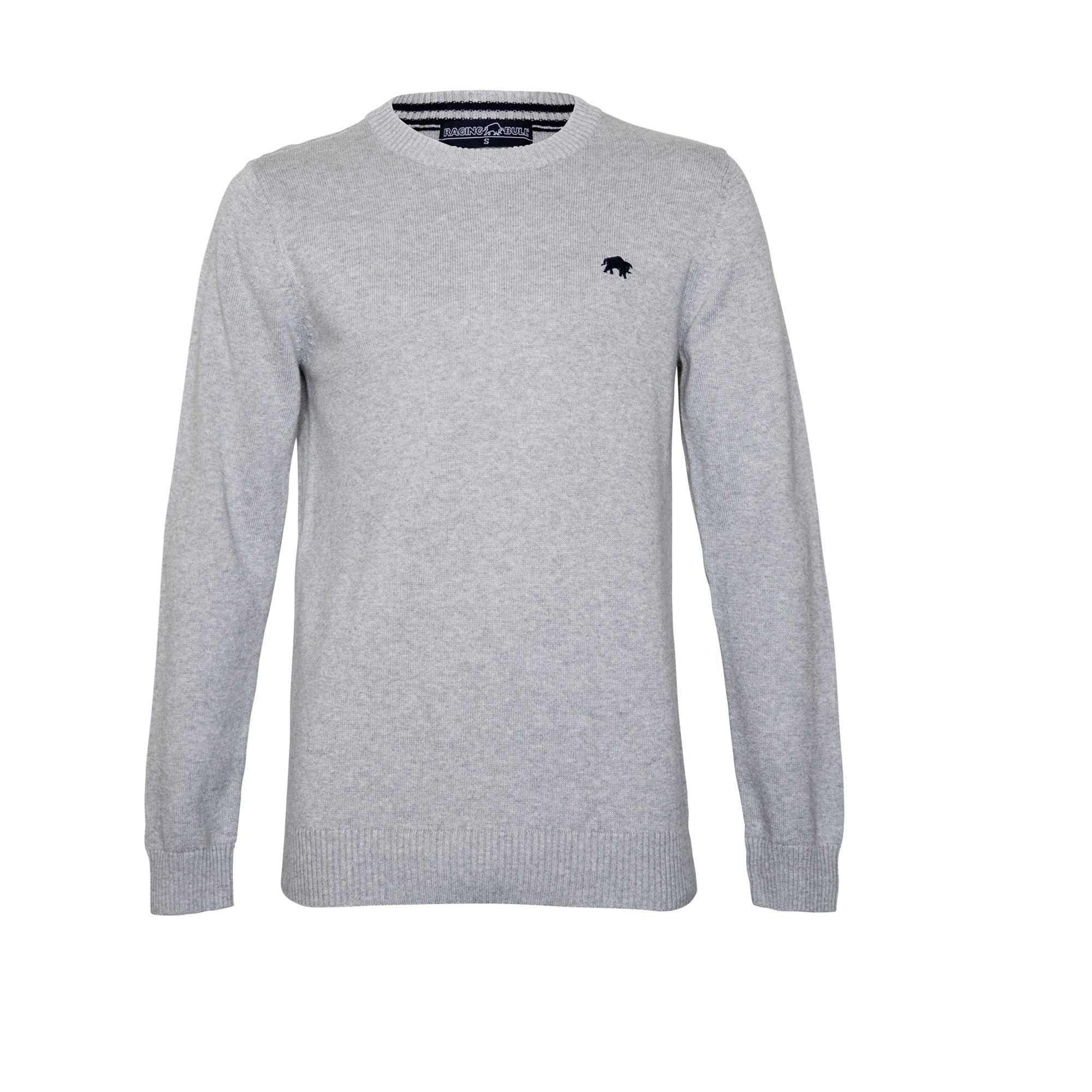 8155119dfc449c Raging Bull - Gray Grey Cotton And Cashmere Blend Crew Neck Sweater for Men  - Lyst. View fullscreen