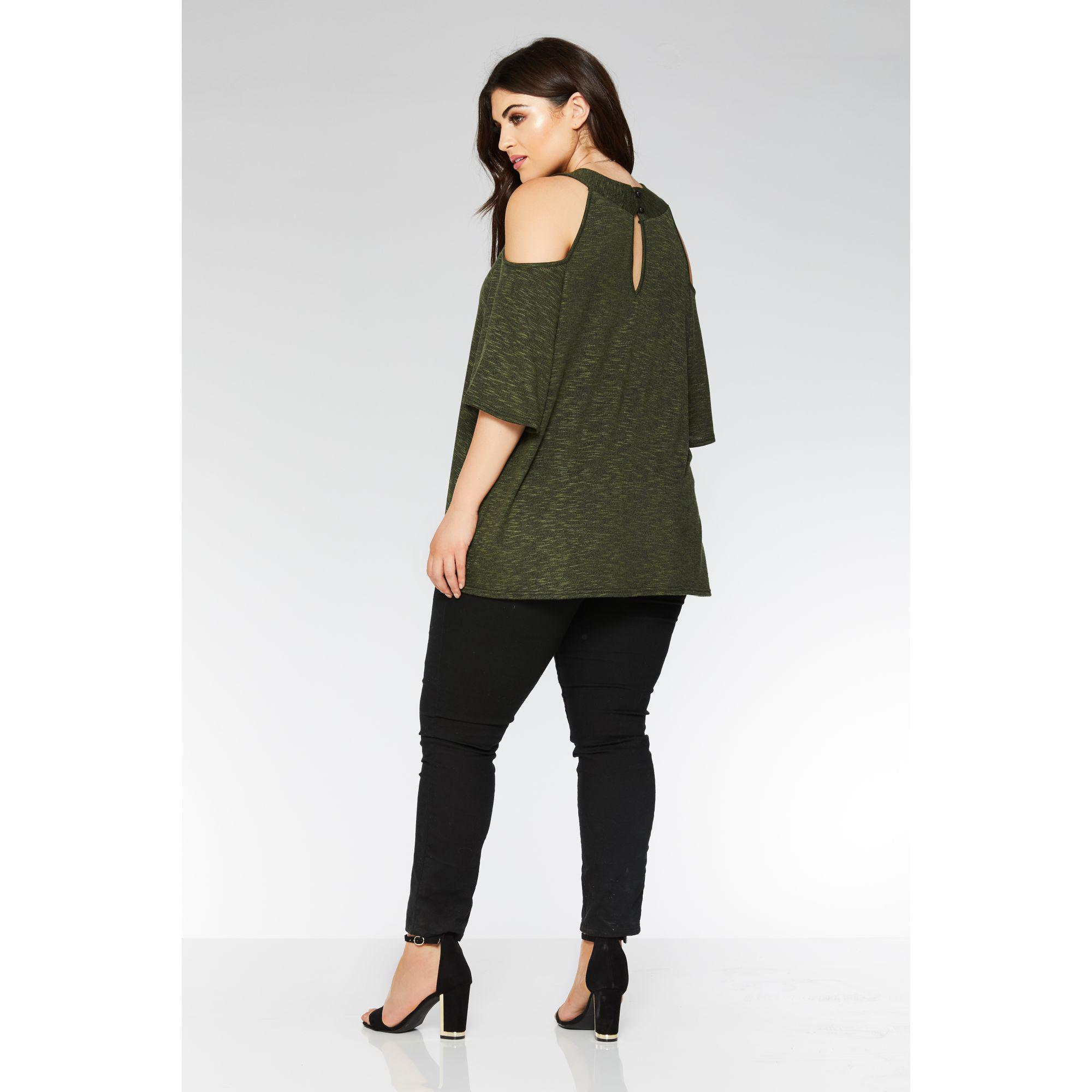 f653c7cb3119f Quiz Curve Khaki Cold Shoulder Necklace Top in Green - Lyst