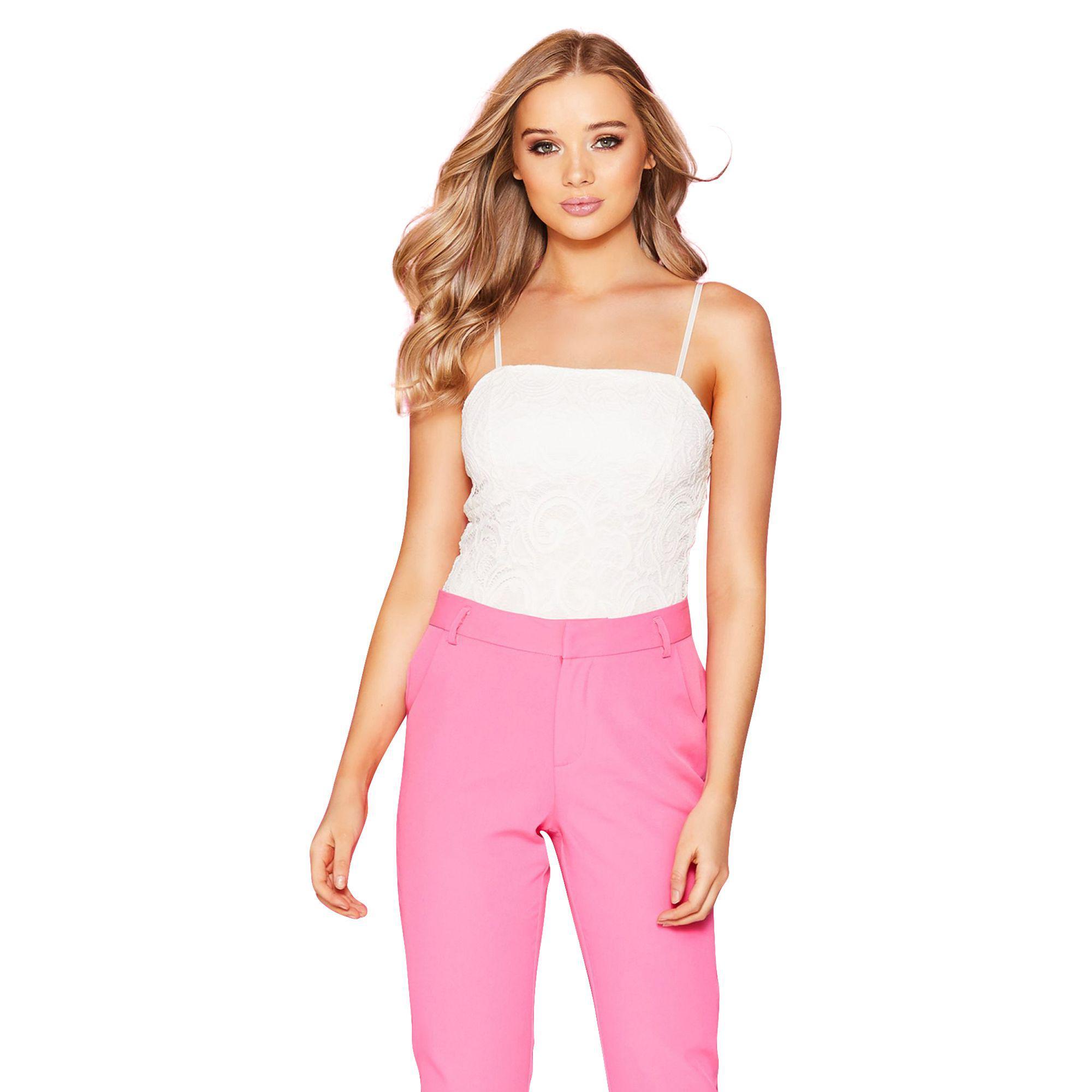 7837282081 Quiz. Women s Cream Lace Strap Bodysuit