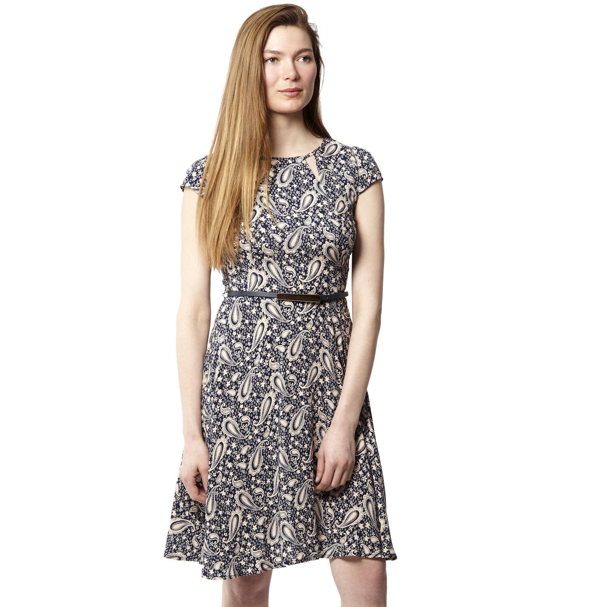 1f45bddffb Izabel London Navy Paisley Print Belted Skater Dress in Blue - Lyst