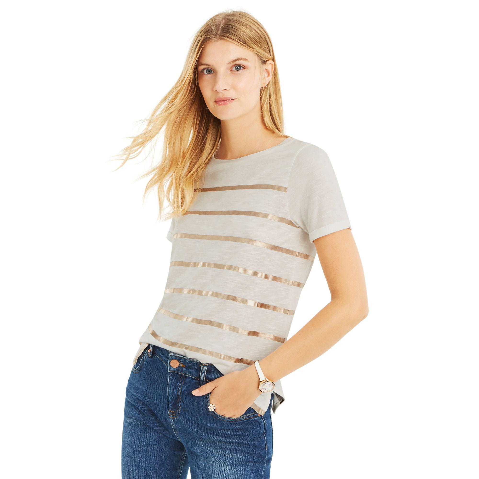c3cefcaa22ca Oasis White Foil Stripe Slub T-shirts in White - Save 25.0% - Lyst