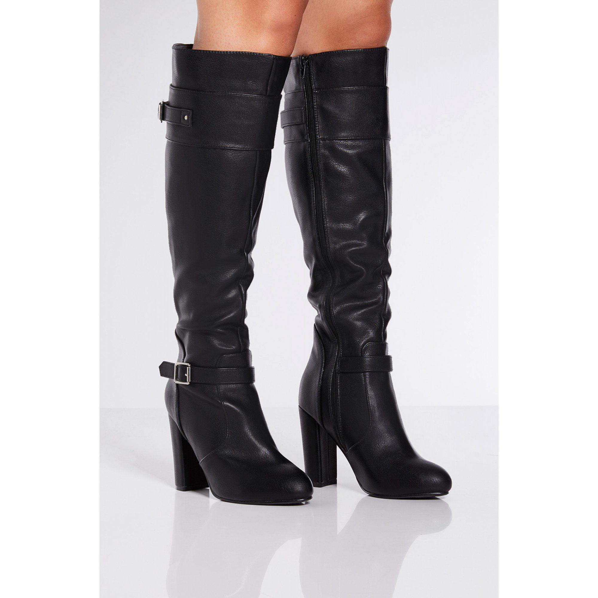 4b1101308be0 Quiz Black Buckle Strap Block Heel Long Boots in Black - Lyst