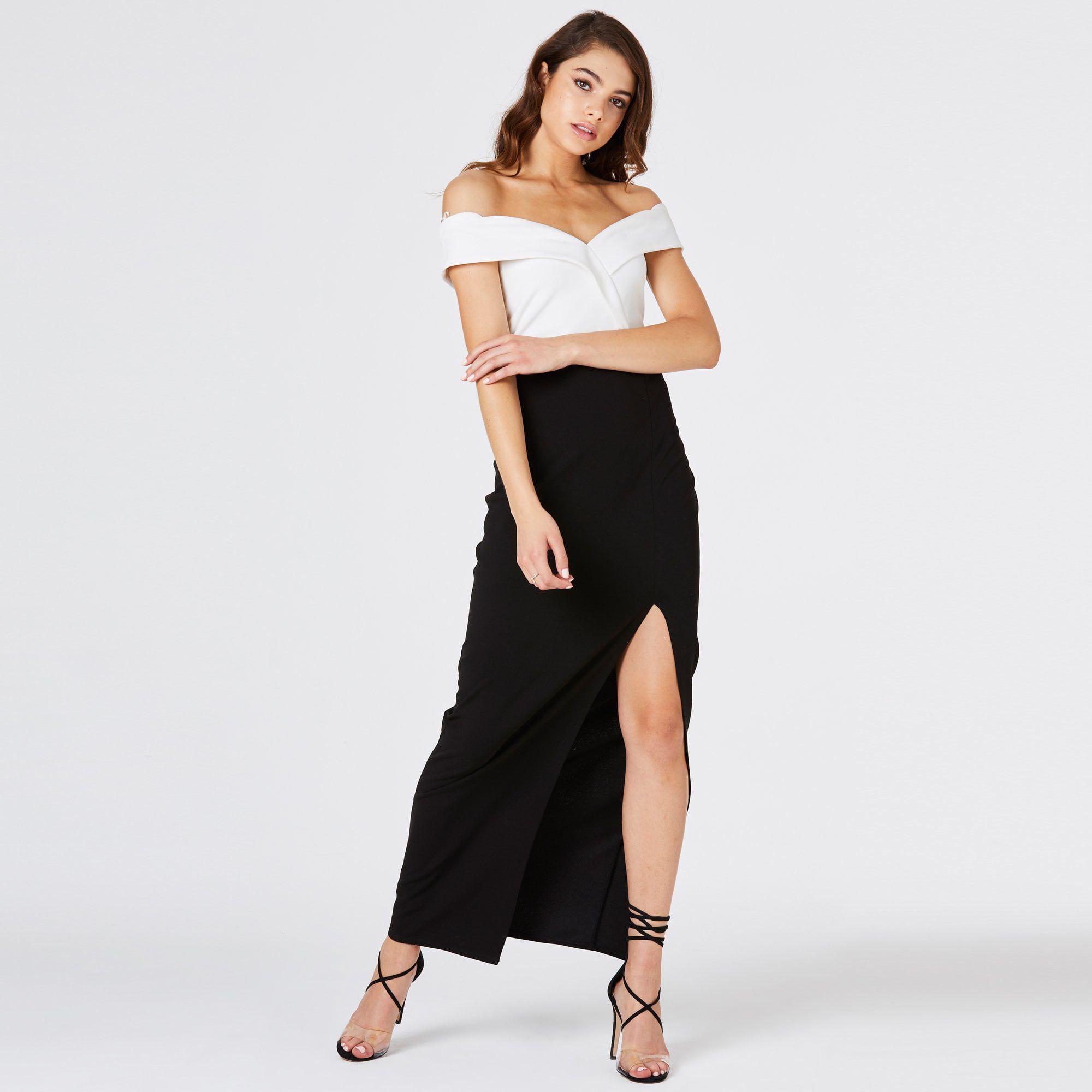 e7b320b16a8d Girls On Film Multicoloured Pose Foldover Bardot Maxi Dress in Black ...