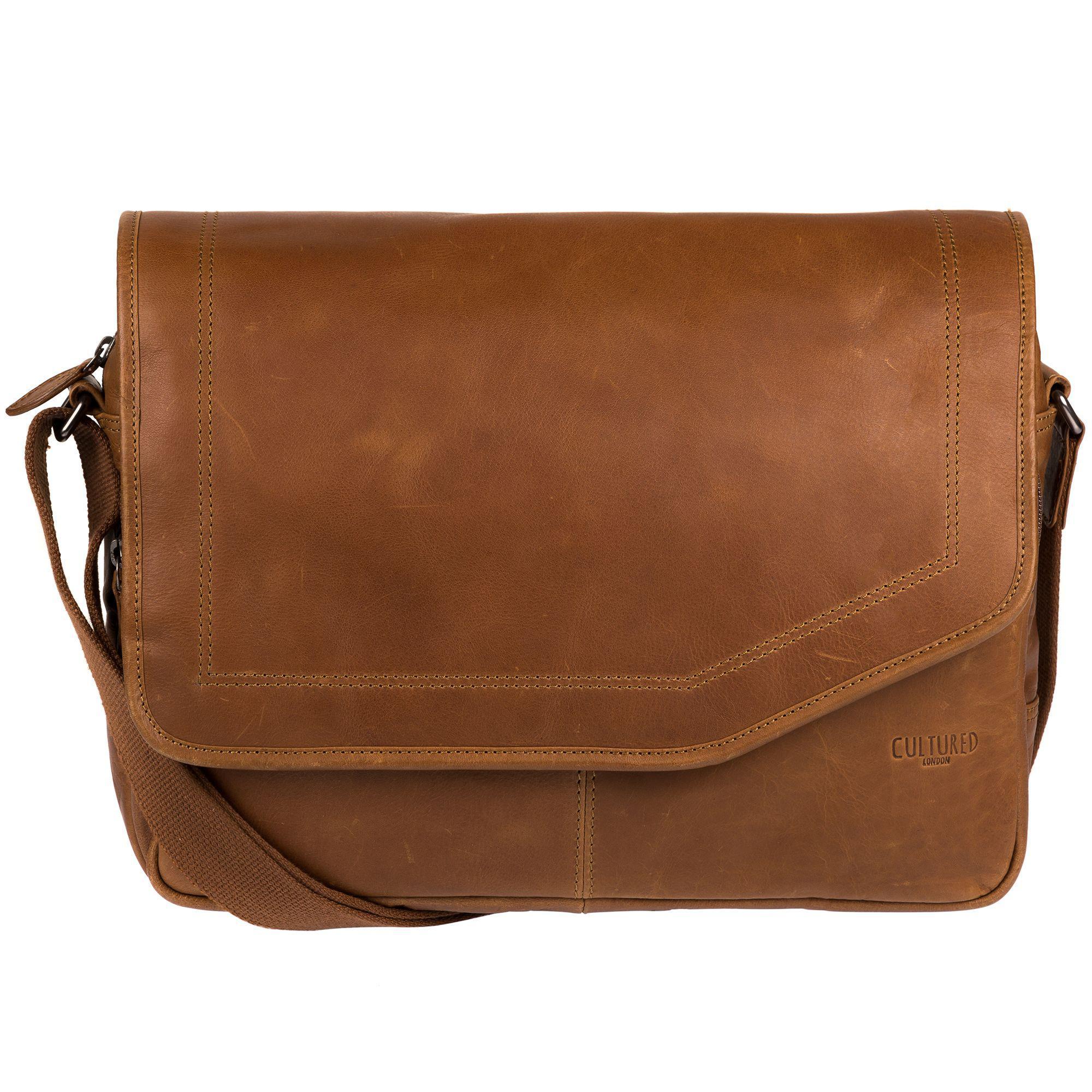 9145764b19 Cultured London Chestnut  reaction  Buffalo Leather Messenger Bag in ...