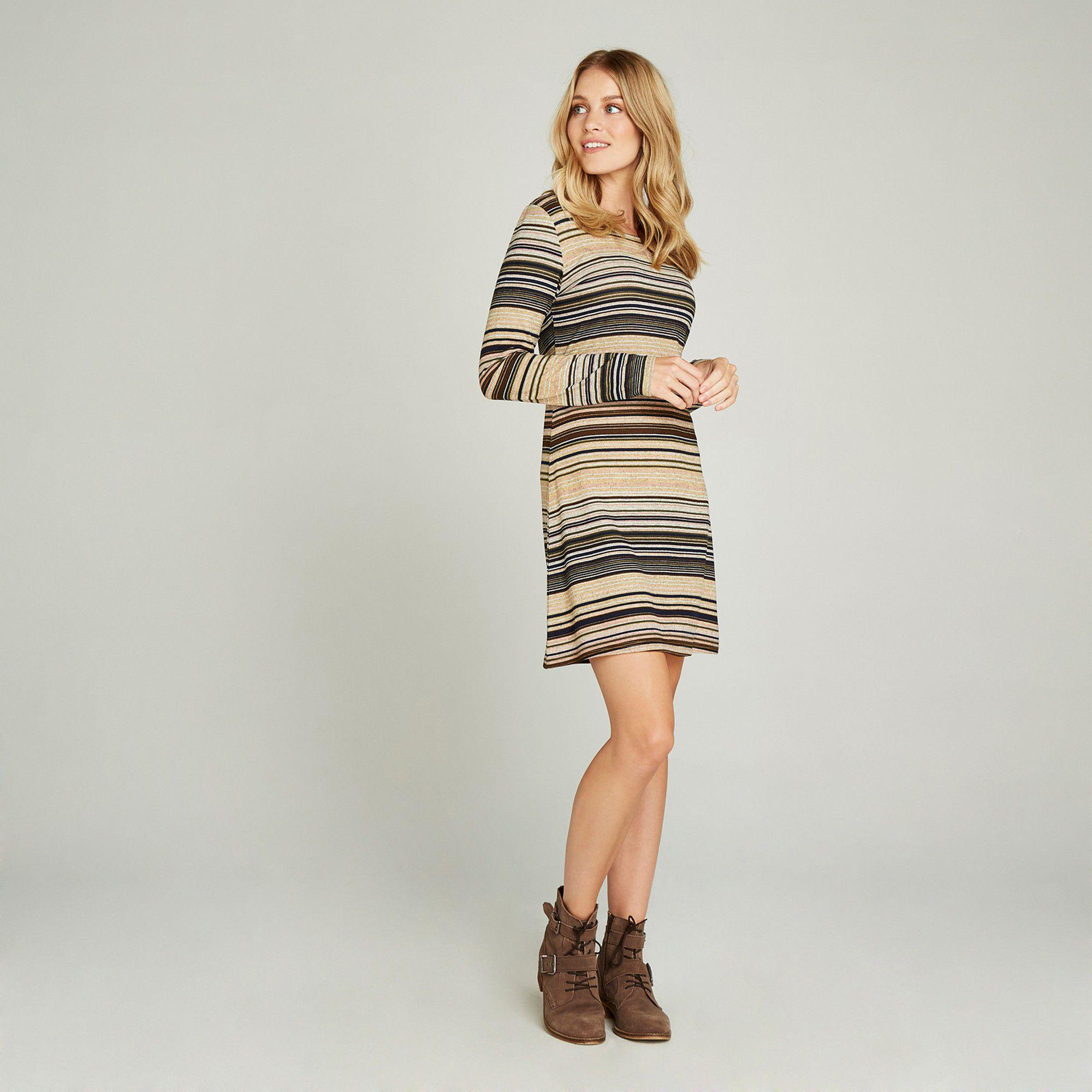 4b7102176e Apricot Beige Multistripe Long Sleeves Tunic Dress in Natural - Lyst