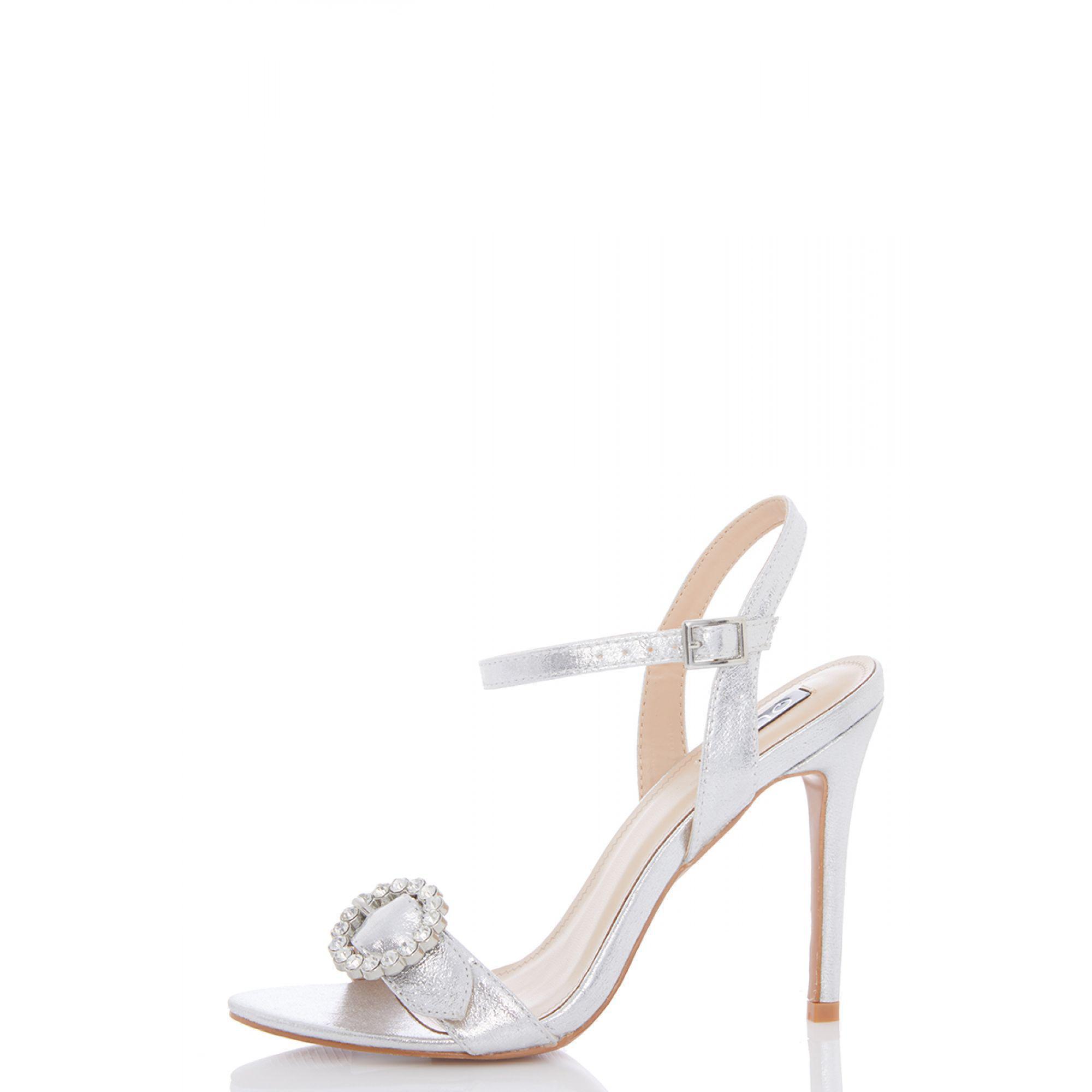8145f507a13 Quiz Silver Shimmer Jewel Bucke Heel Sandals in Metallic - Lyst