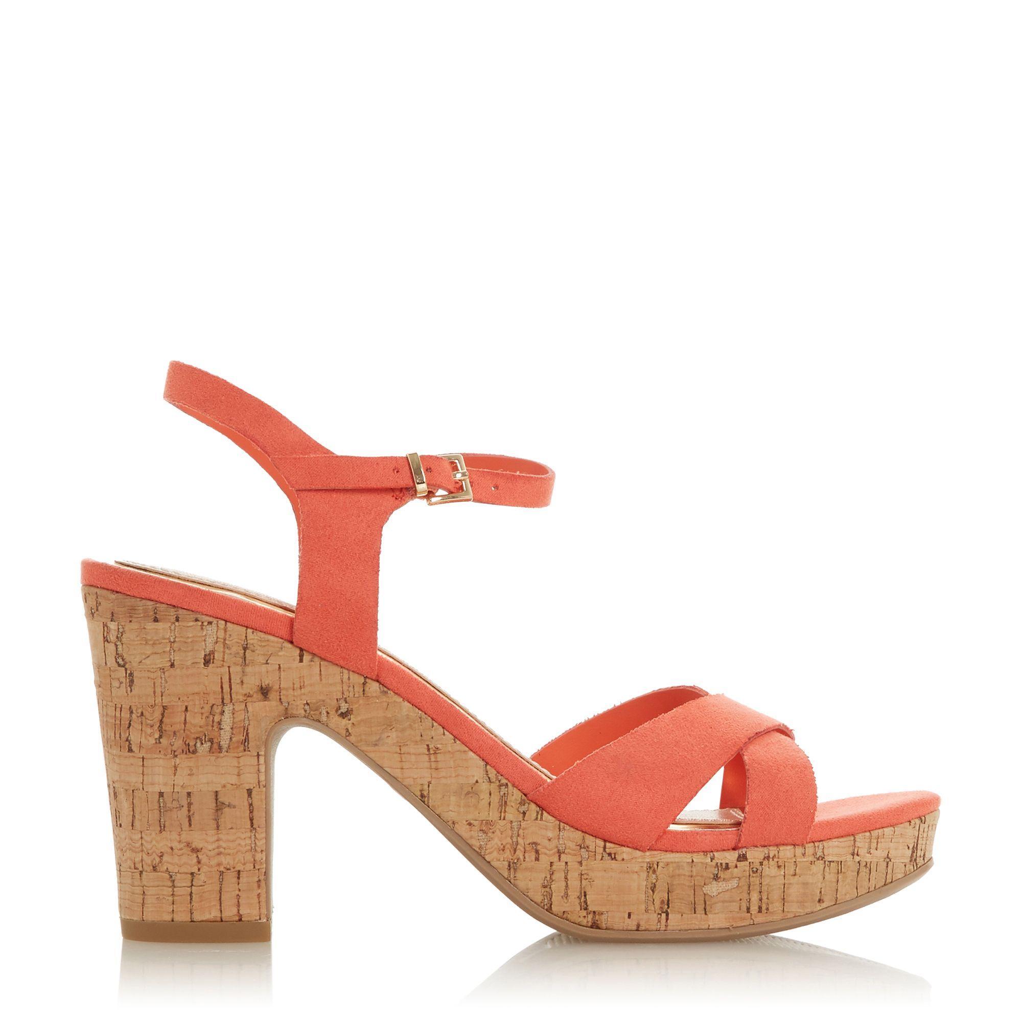 4262463e643 Dune Dark Peach 'joany' High Block Heel Ankle Strap Sandals - Lyst