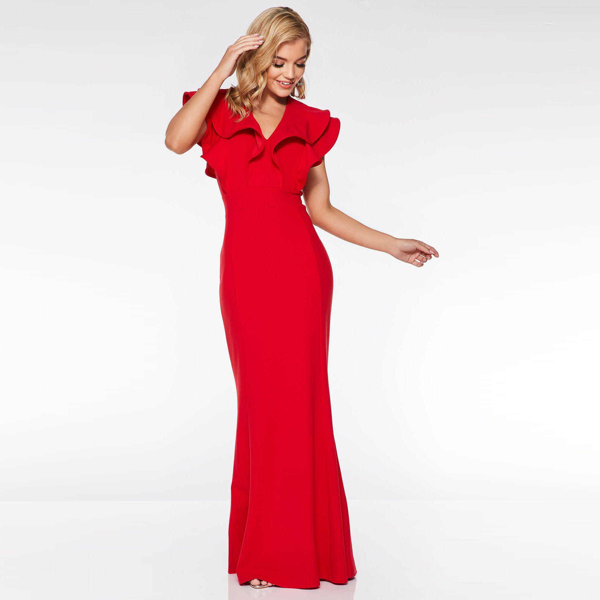 d1e6764793 Quiz Red Double Frill V Neck Maxi Dress in Red - Lyst
