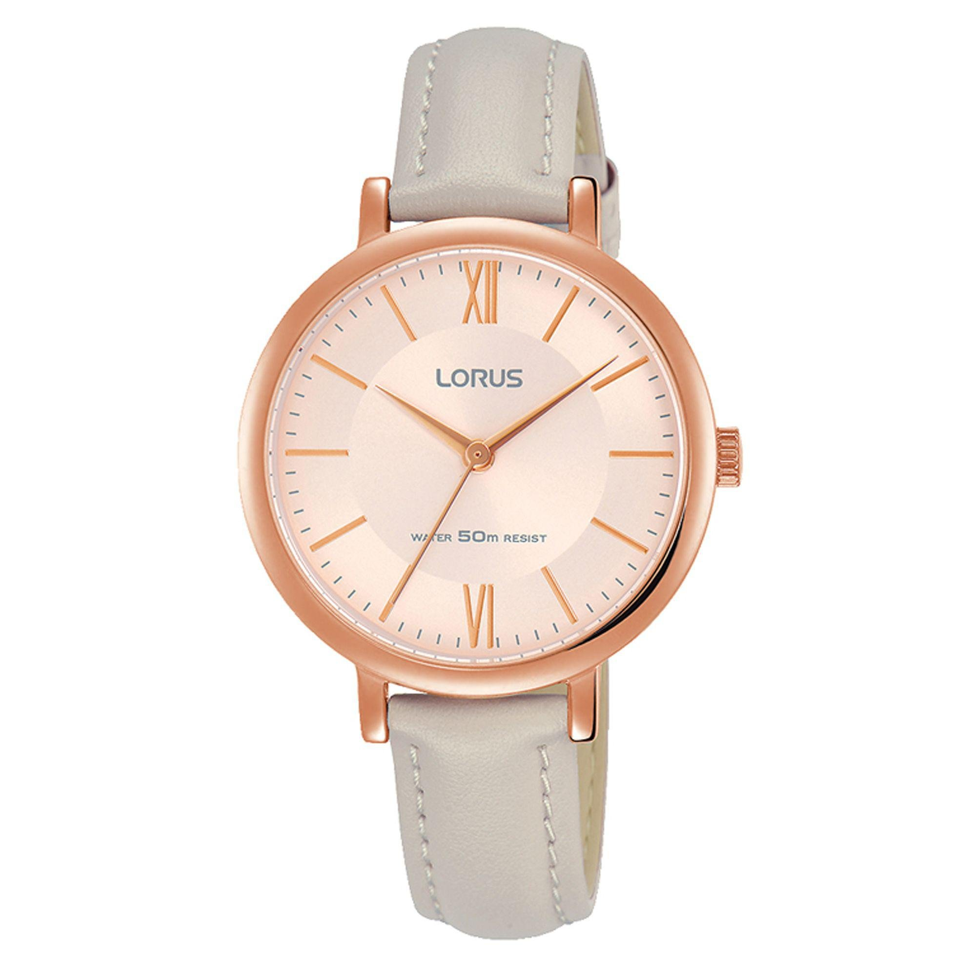 Lyst - Lorus Ladies Rose Gold Soft Pink Dial Grey Leather ...