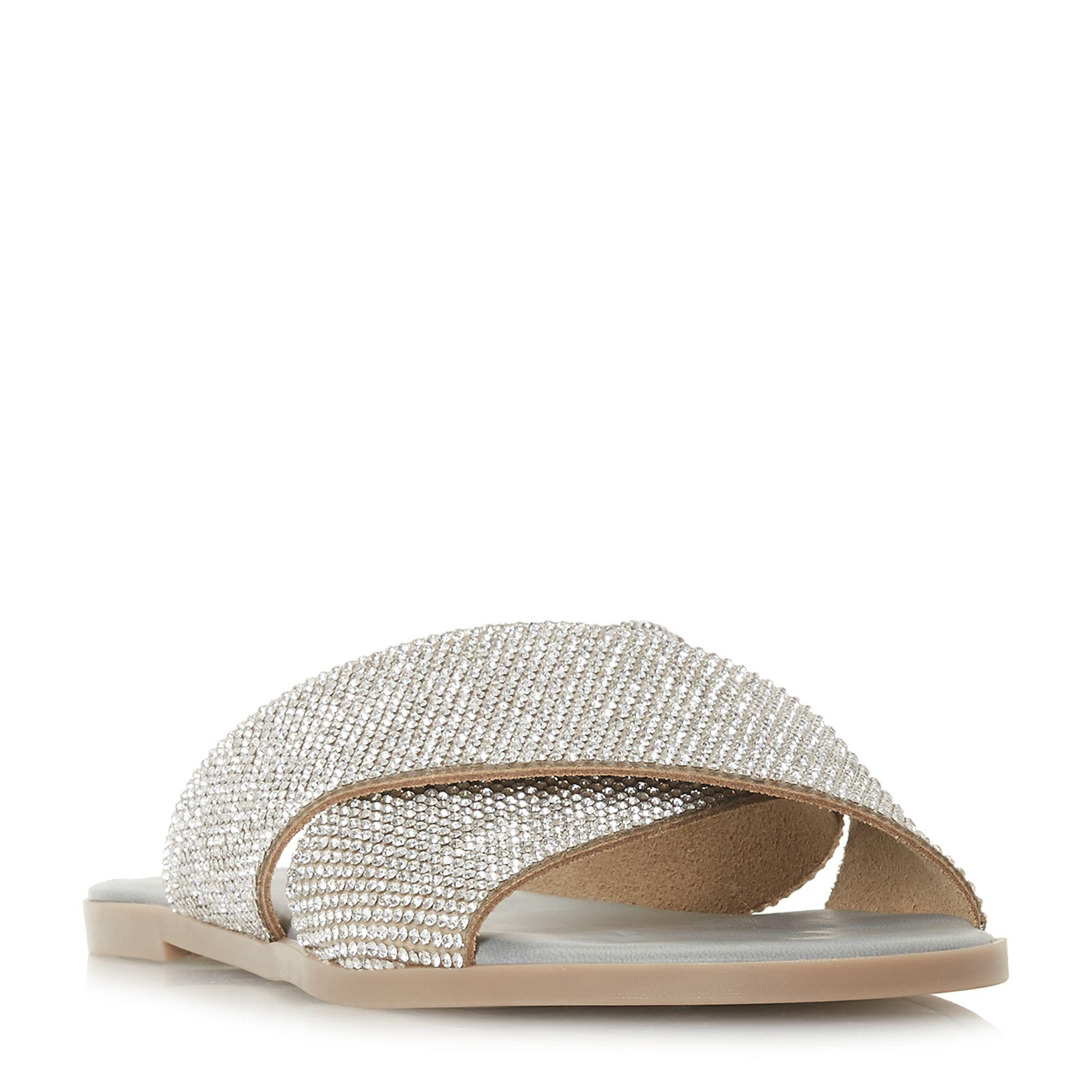 ee72ff5724bf0e Dune Grey Nevadaa Cross Strap Diamante Sandals in Gray - Lyst