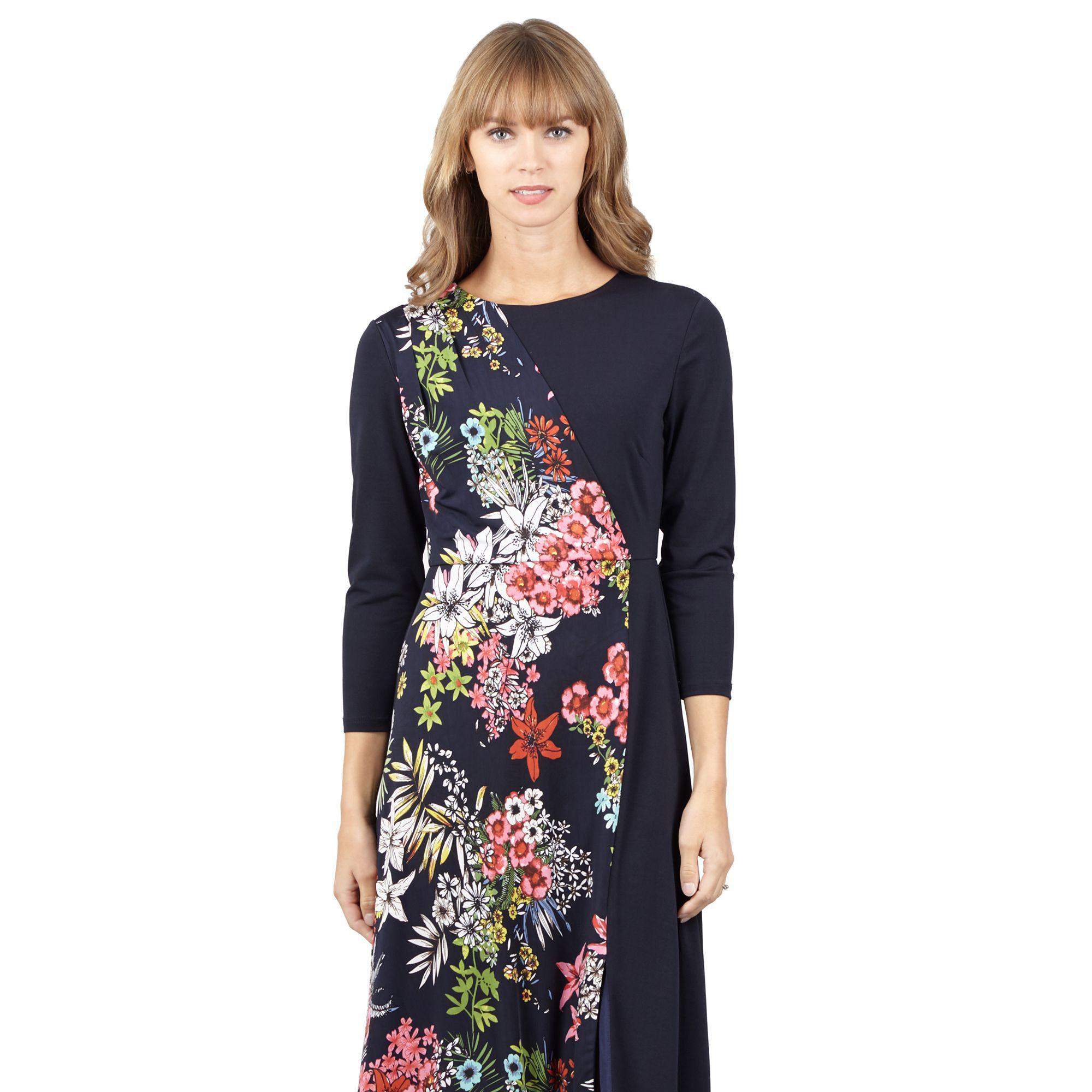 c1384d0b4a21b Izabel London - Blue Navy Floral Print Midi Dress - Lyst. View fullscreen