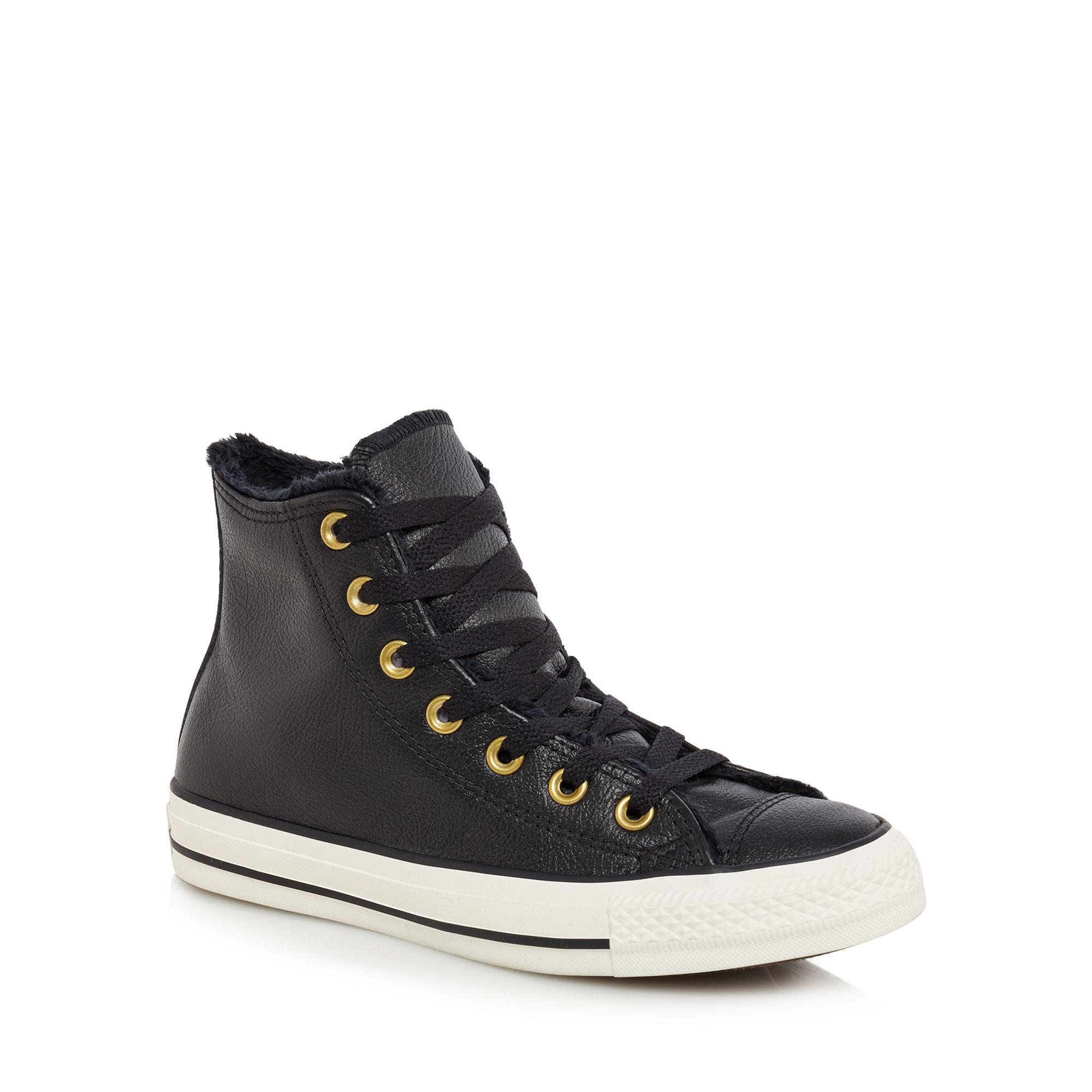 2841aa51e95e Converse Black Leather  all Star  High Tops in Black - Lyst