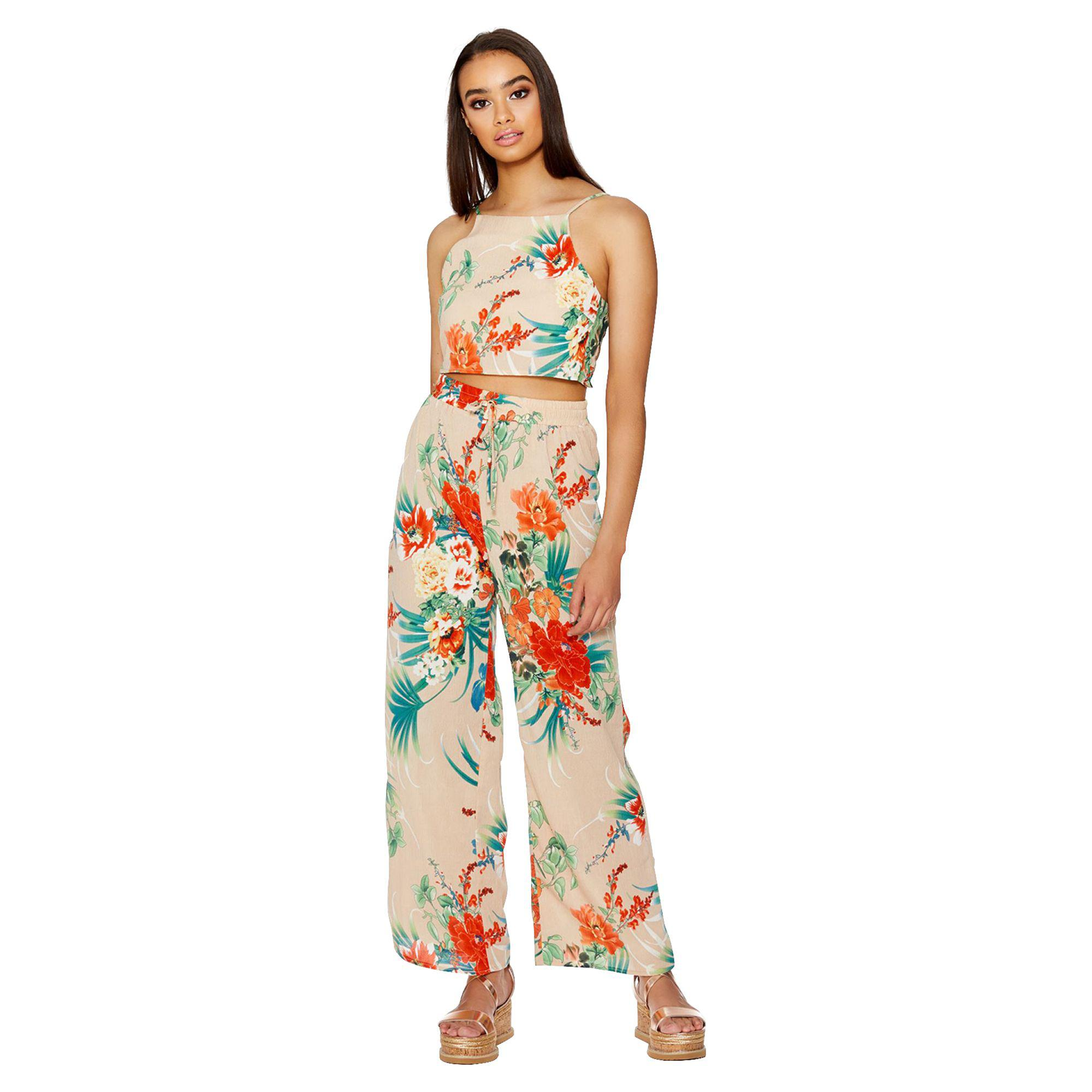 Quiz Stone And Orange Wide Leg Floral Trousers In Orange Lyst