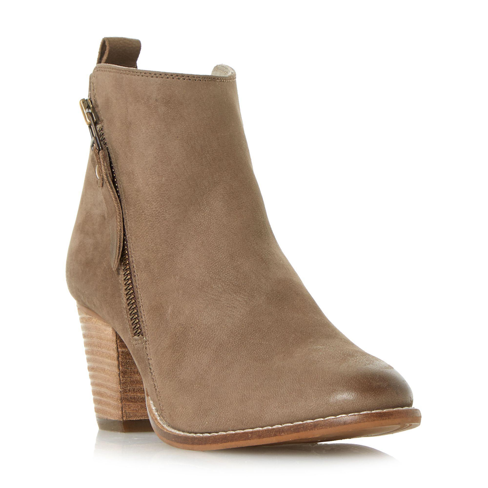 9c69cce6d5b Dune. Women s Gray Dark Grey  pontoon  Stacked Heel Side Zip Ankle Boots