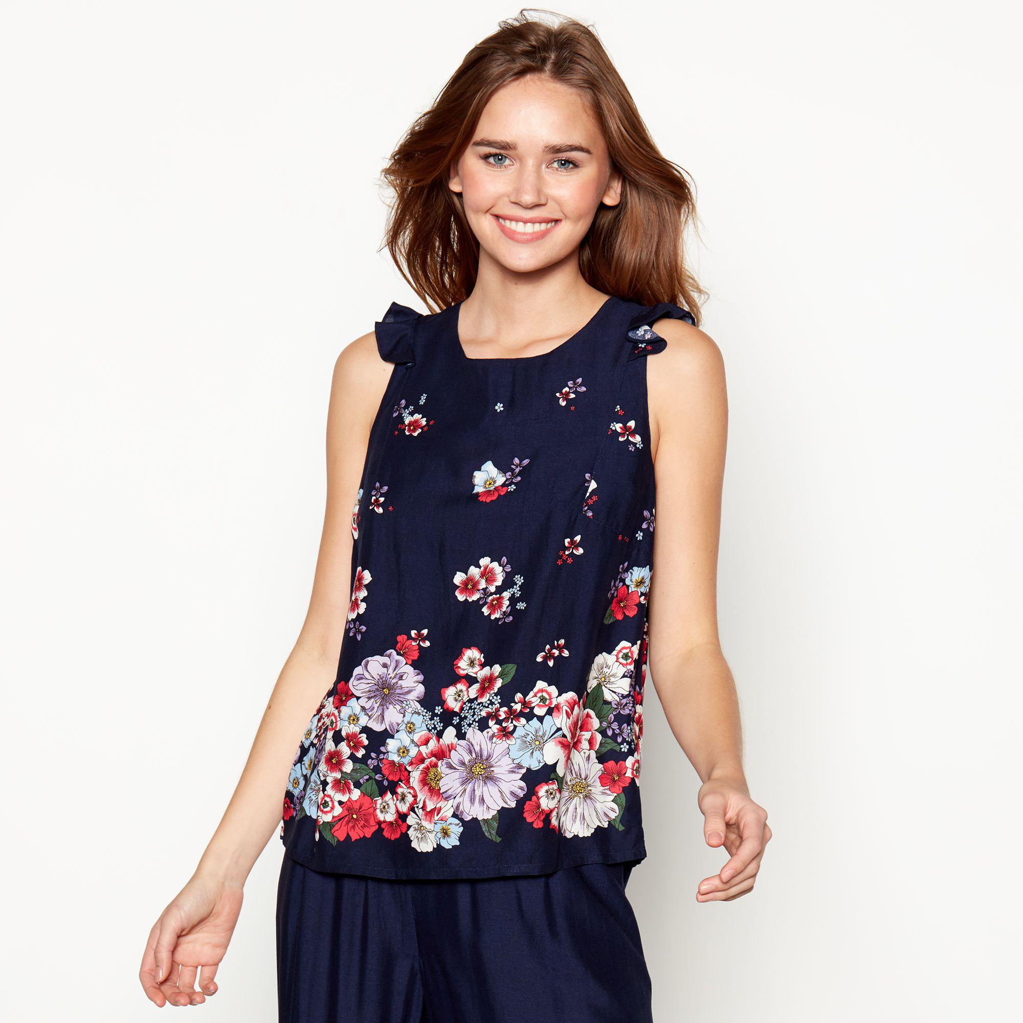 8a9cfe1ad6ea Red Herring Navy 'lady Catherine' Floral Print Top in Blue - Lyst