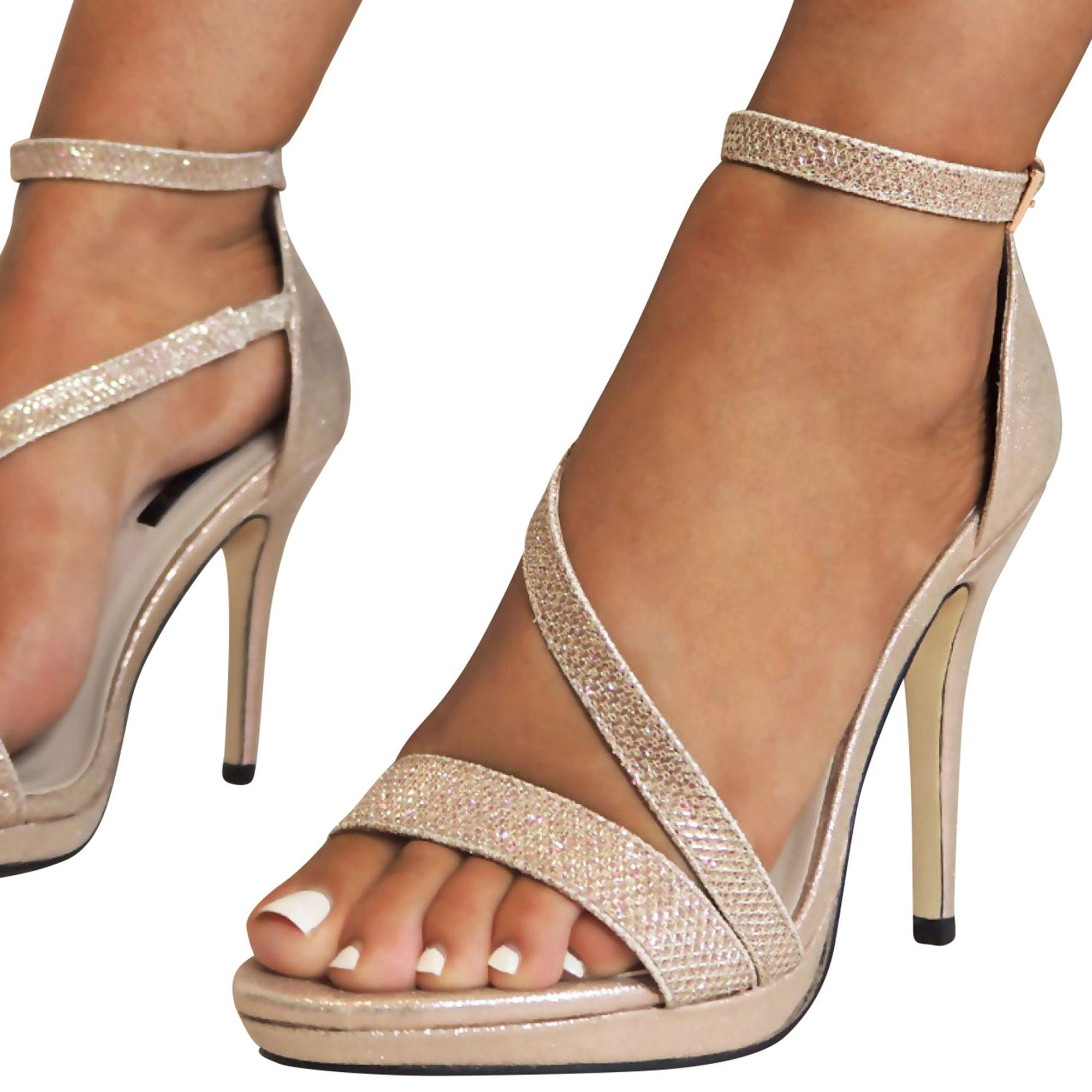 a70e860b5412 Quiz Gabby S Rose Gold Shimmer Strap Heel Sandals in Metallic - Lyst