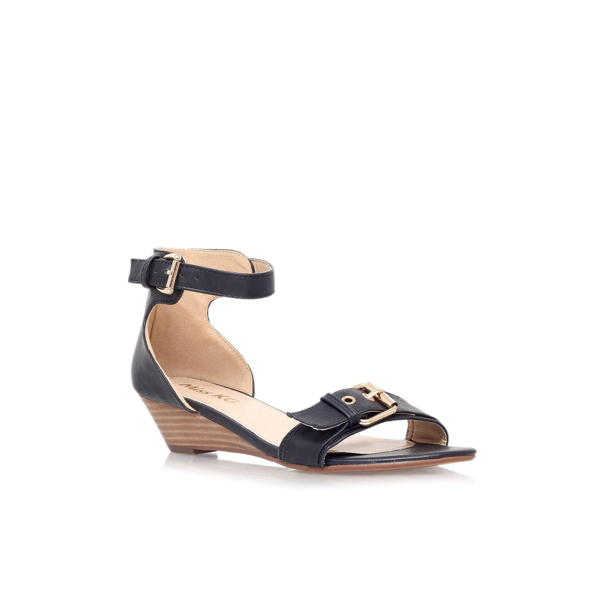fe848021dfac Lyst - Miss Kg Black  leanne  Low Wedge Heel Strappy Sandal in Black