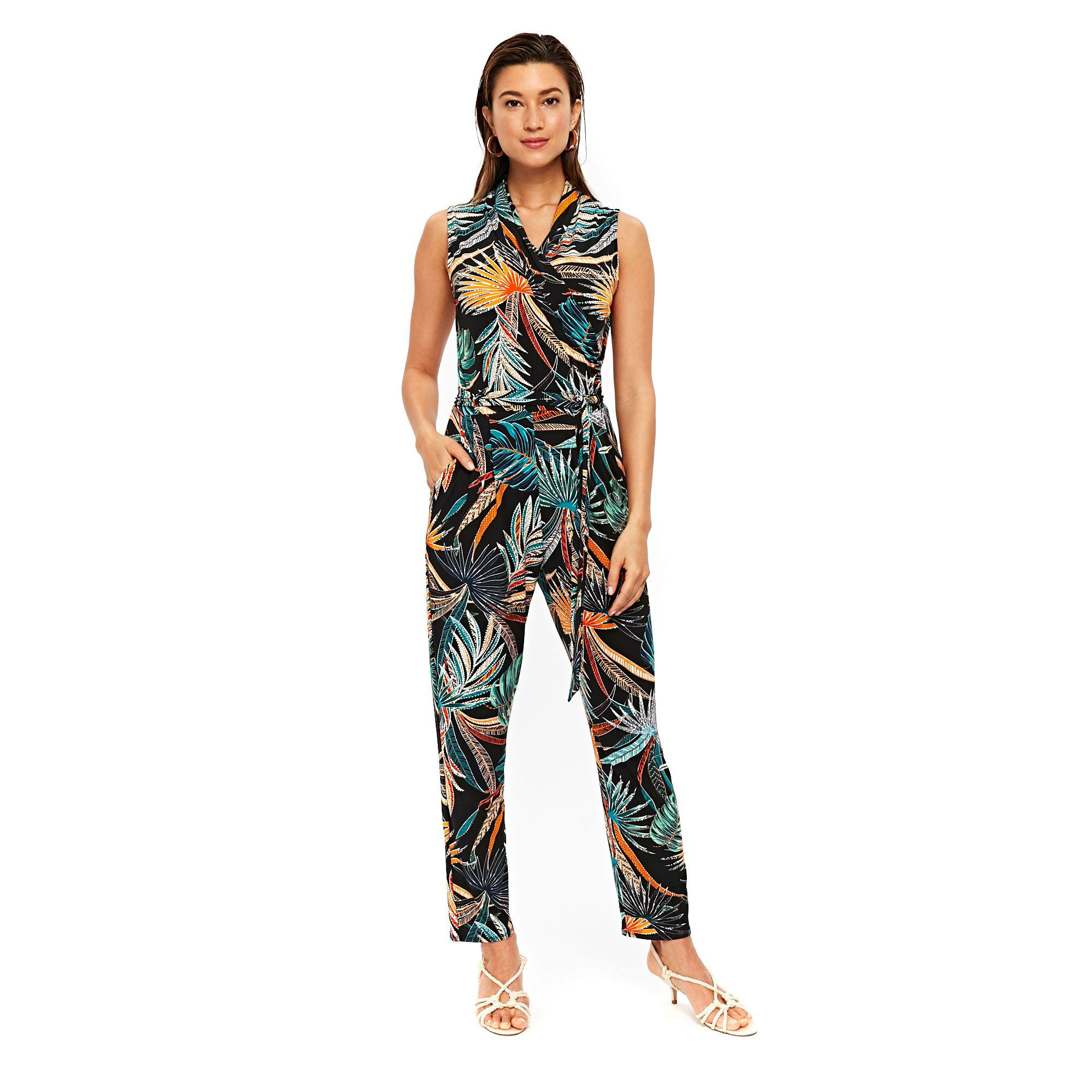 Wallis Black Palm Print Jumpsuit in Black