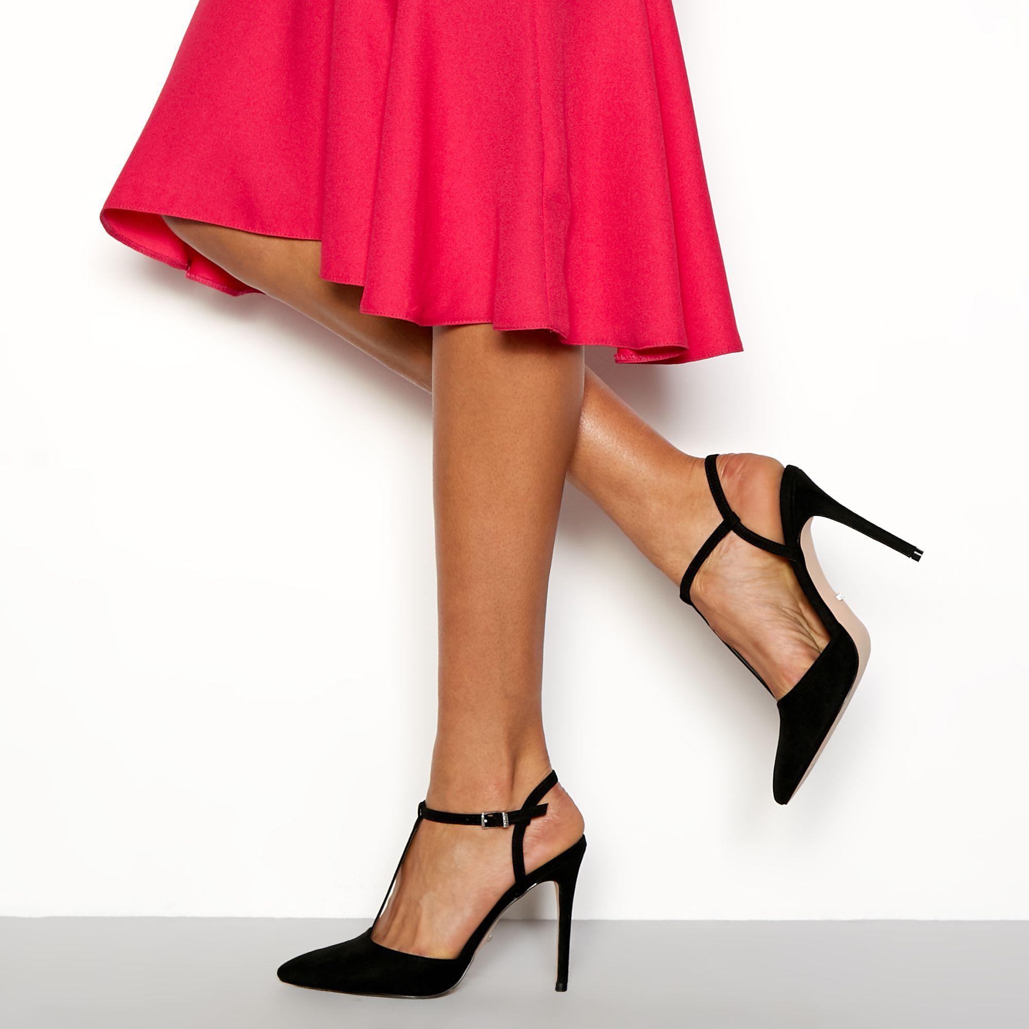 79fcd006d50 Faith Black  chi  T-bar Stiletto Heels Sandals in Black - Lyst