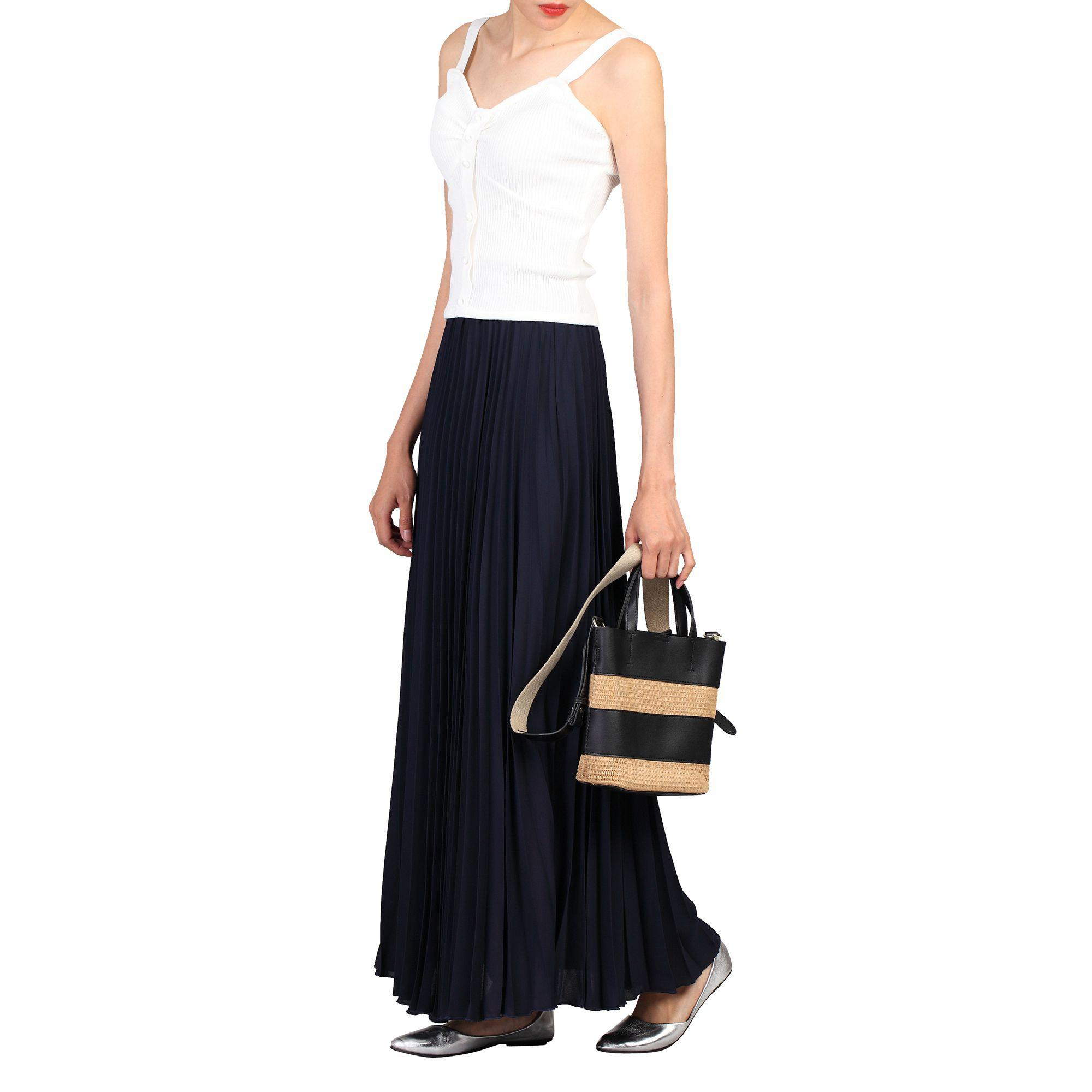 cce6793813 Jolie Moi Navy Crepe Pleated Maxi Skirt in Blue - Lyst
