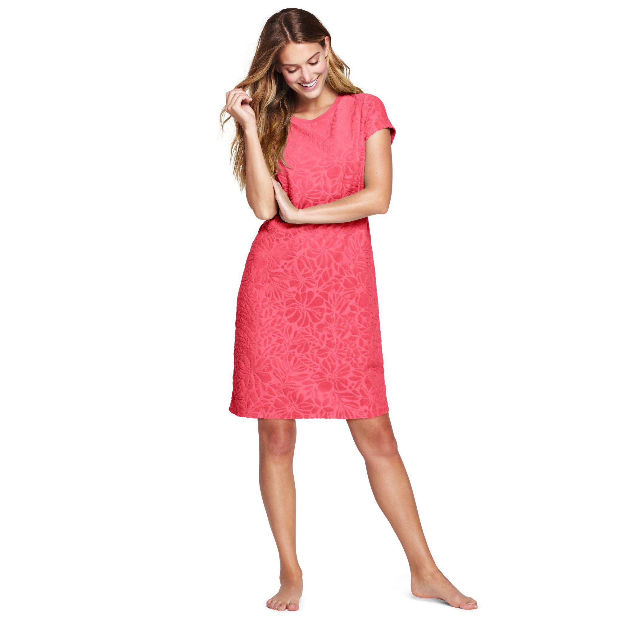 6b29cf3e65781 Lands  End Pink Textured Towelling Cover-up Dress in Pink - Lyst