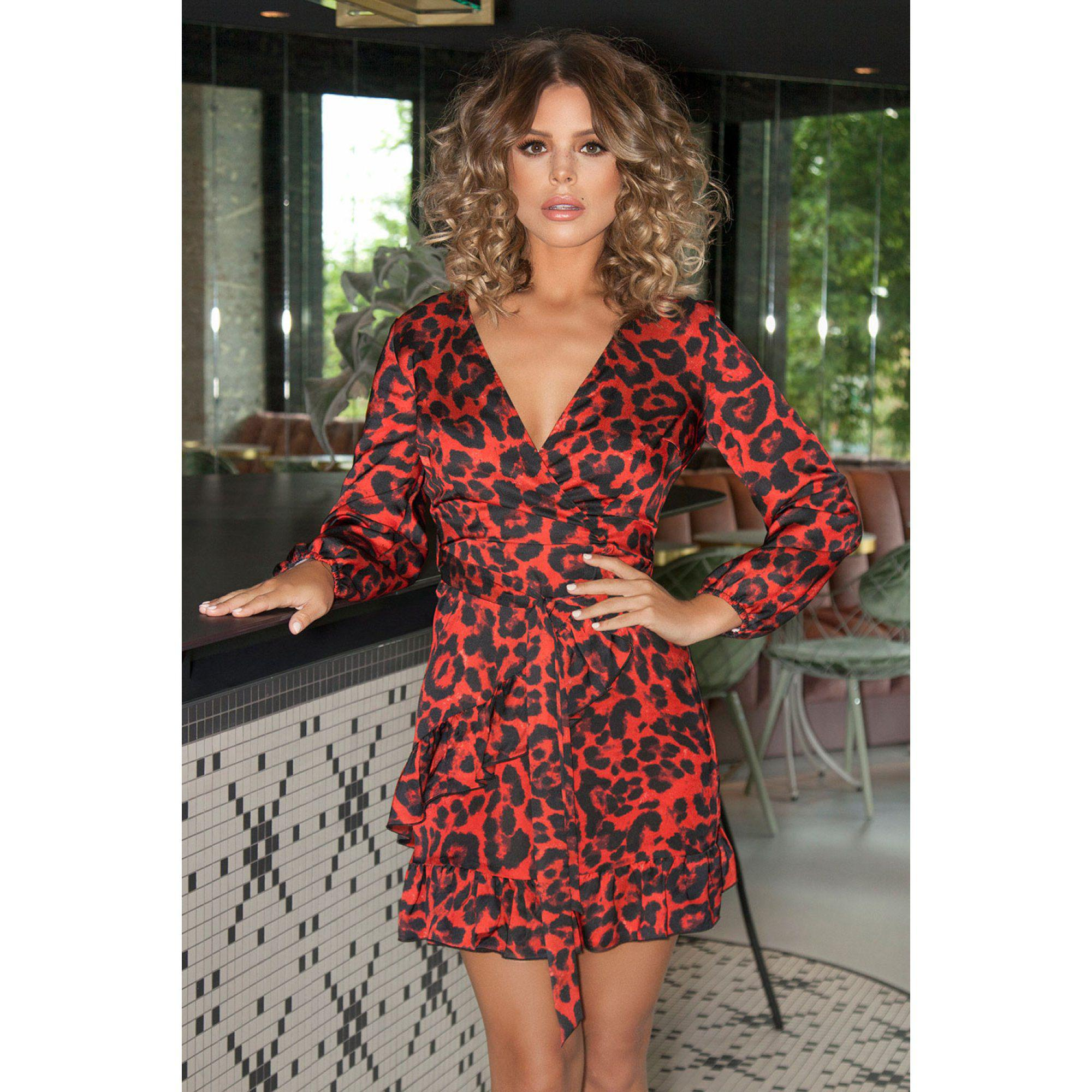 20d1dcf5a3 Quiz Towie Red And Black Satin Leopard Print Wrap Dress in Red - Lyst