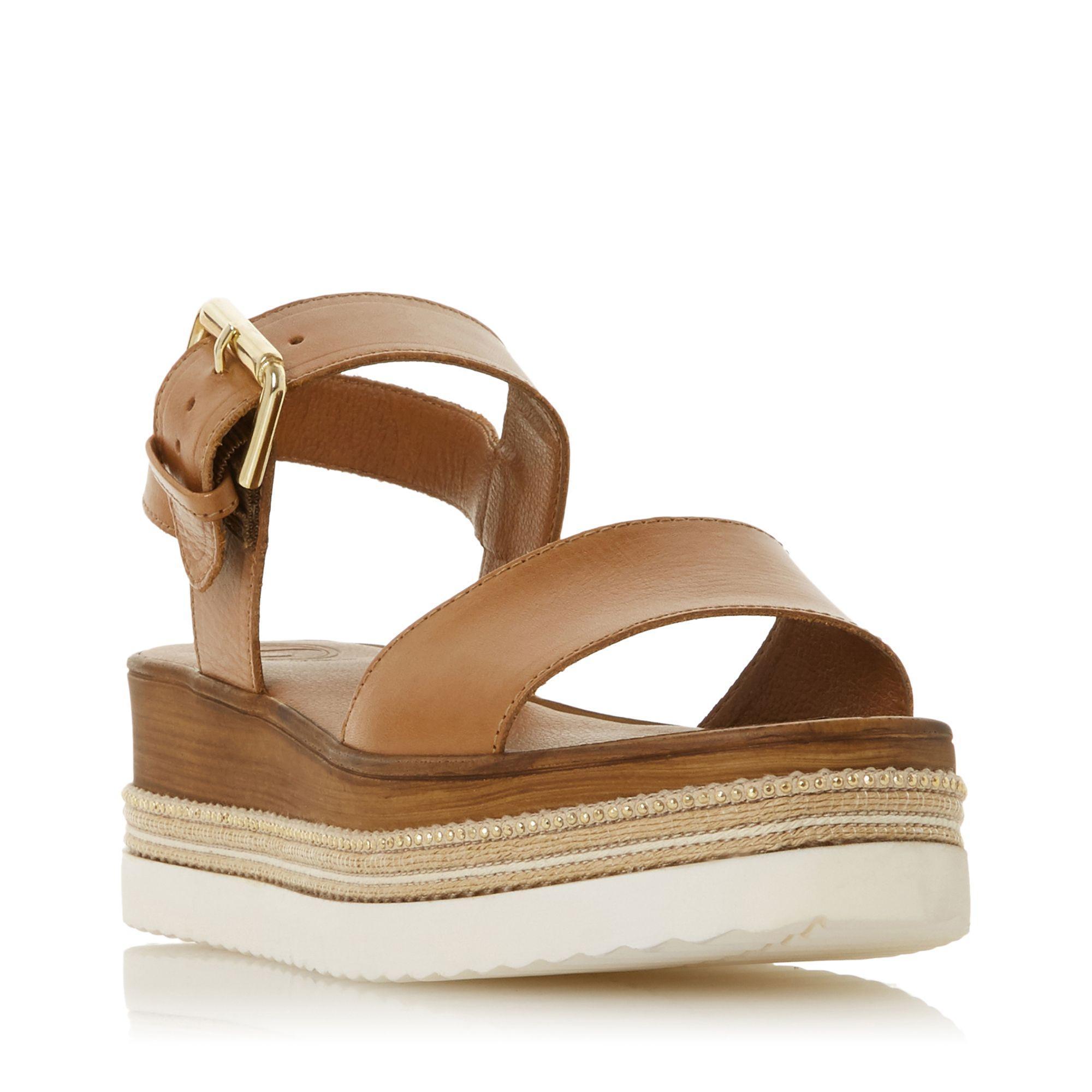 8fb420b59c0 Dune. Women s Brown Tan Leather  kaze  Mid Wedge Heel Ankle Strap Sandals
