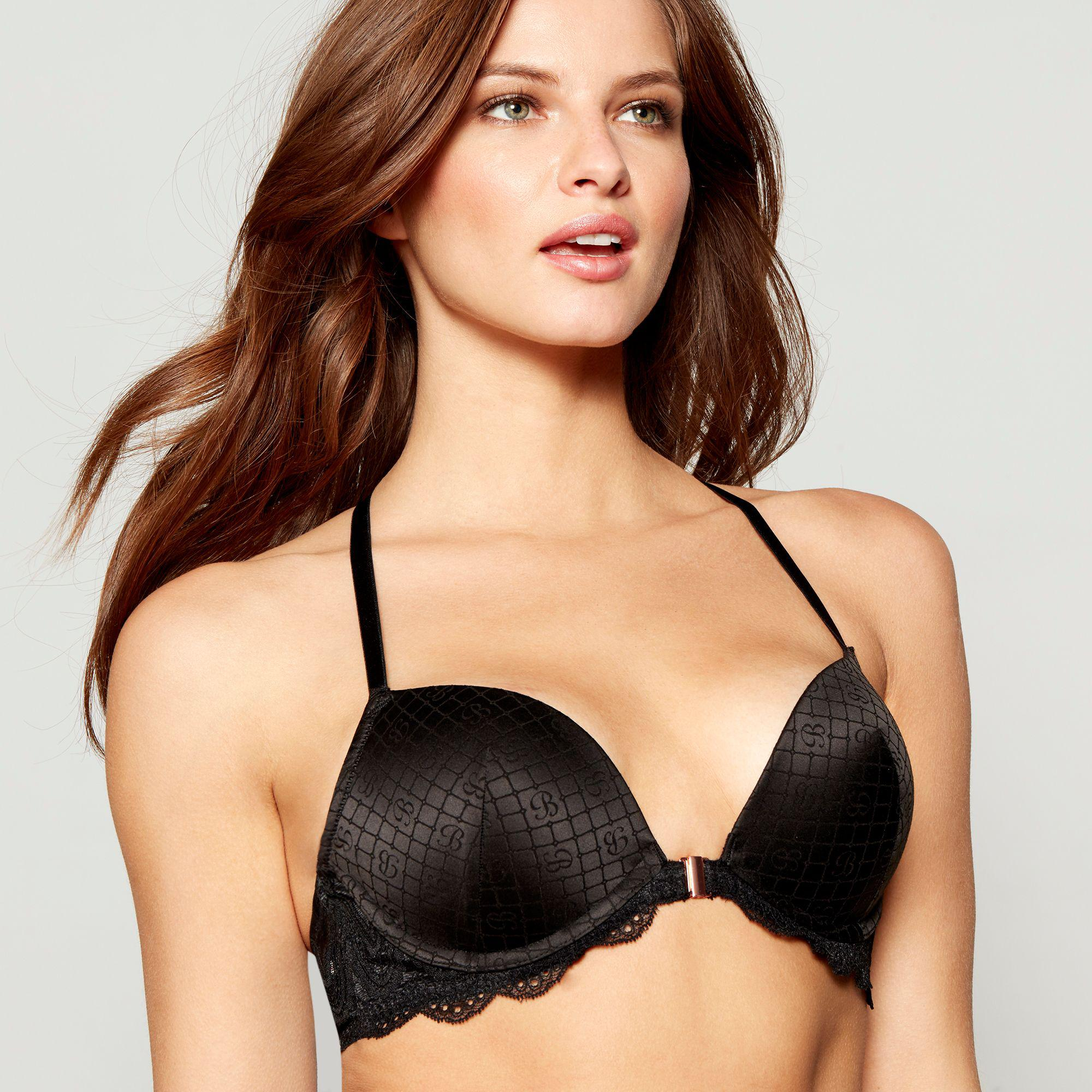 5ead63d88bb Ted Baker - Black Jacquard Lace Underwired Padded Plunge Bra - Lyst. View  fullscreen