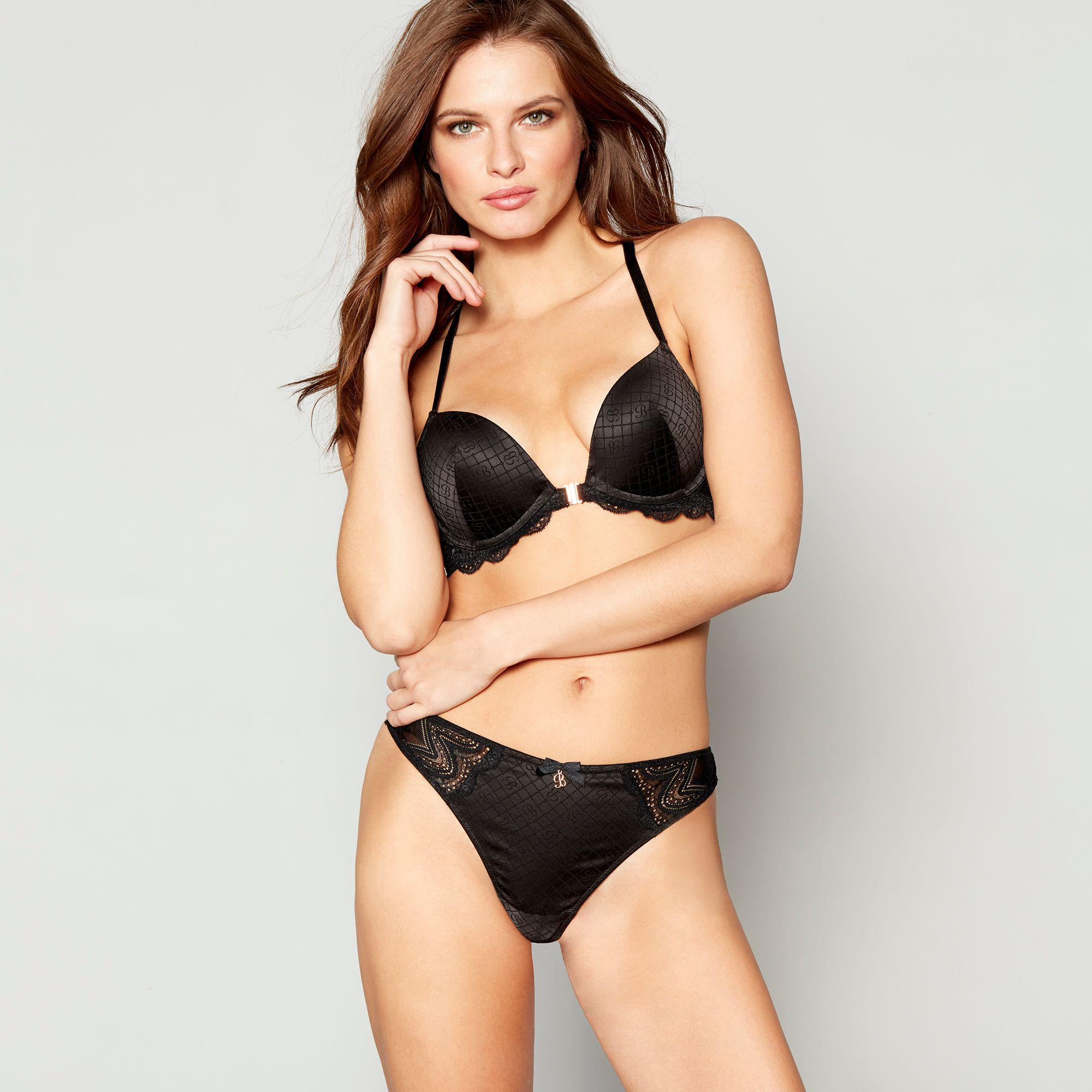b6130fb648b Ted Baker Black Jacquard Lace Underwired Padded Plunge Bra in Black ...