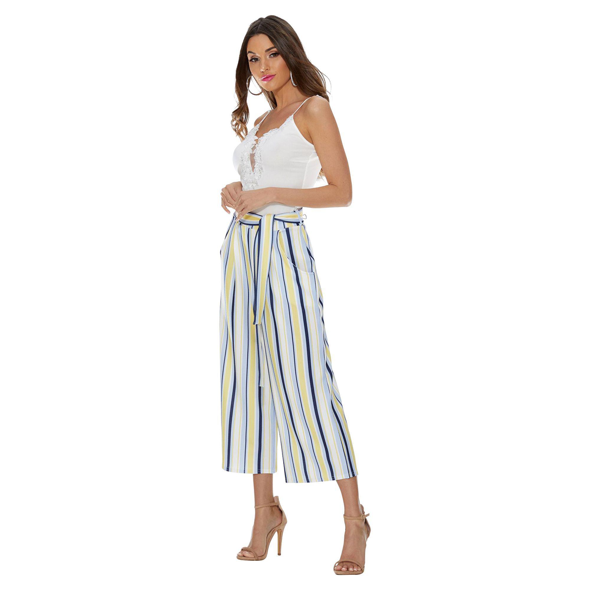 2af411dfa8f231 Quiz - Cream Lemon And Blue Stripe Culotte Trousers - Lyst. View fullscreen