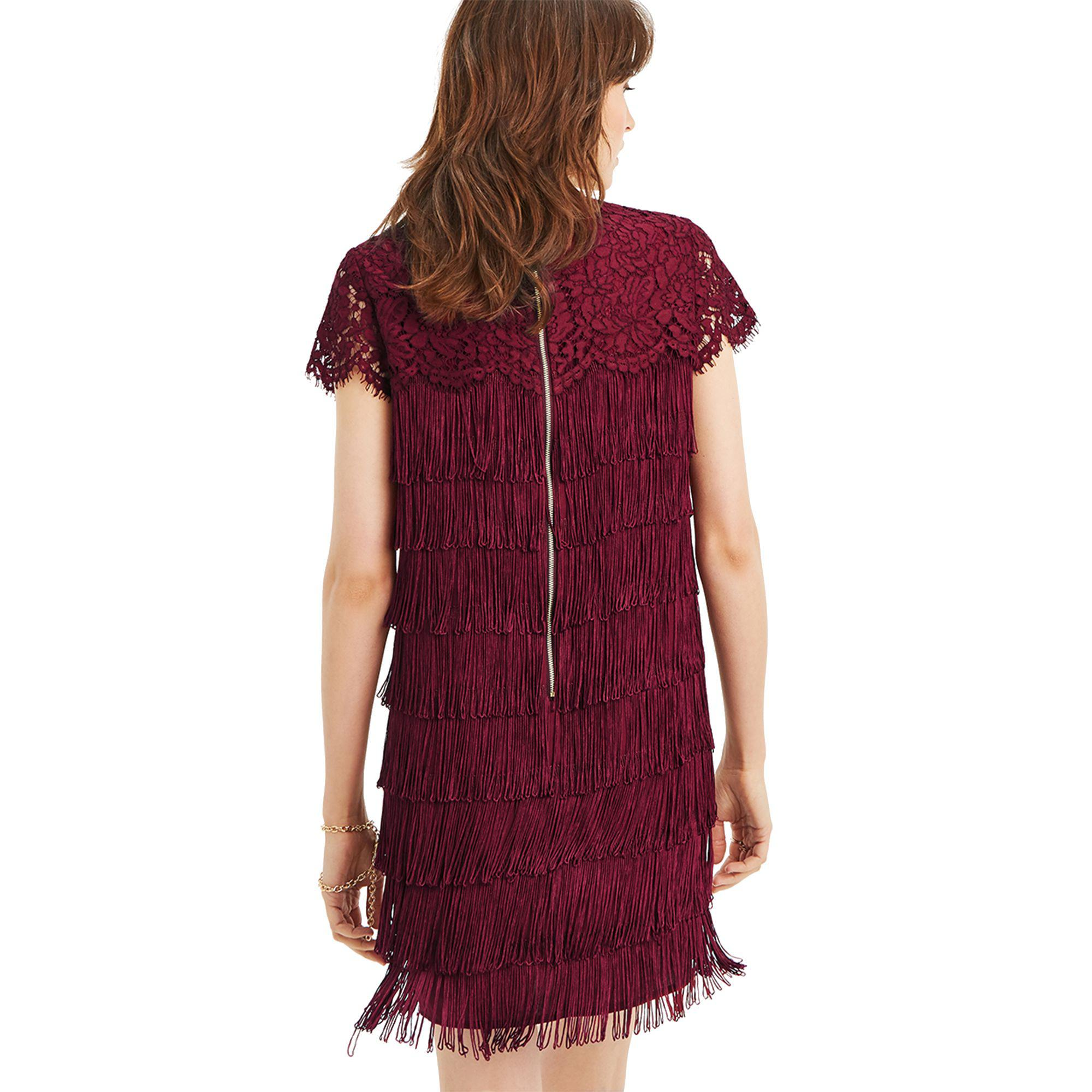 f91a77a280f1 Oasis Burgundy Lace And Fringe Shift Dress in Red - Lyst