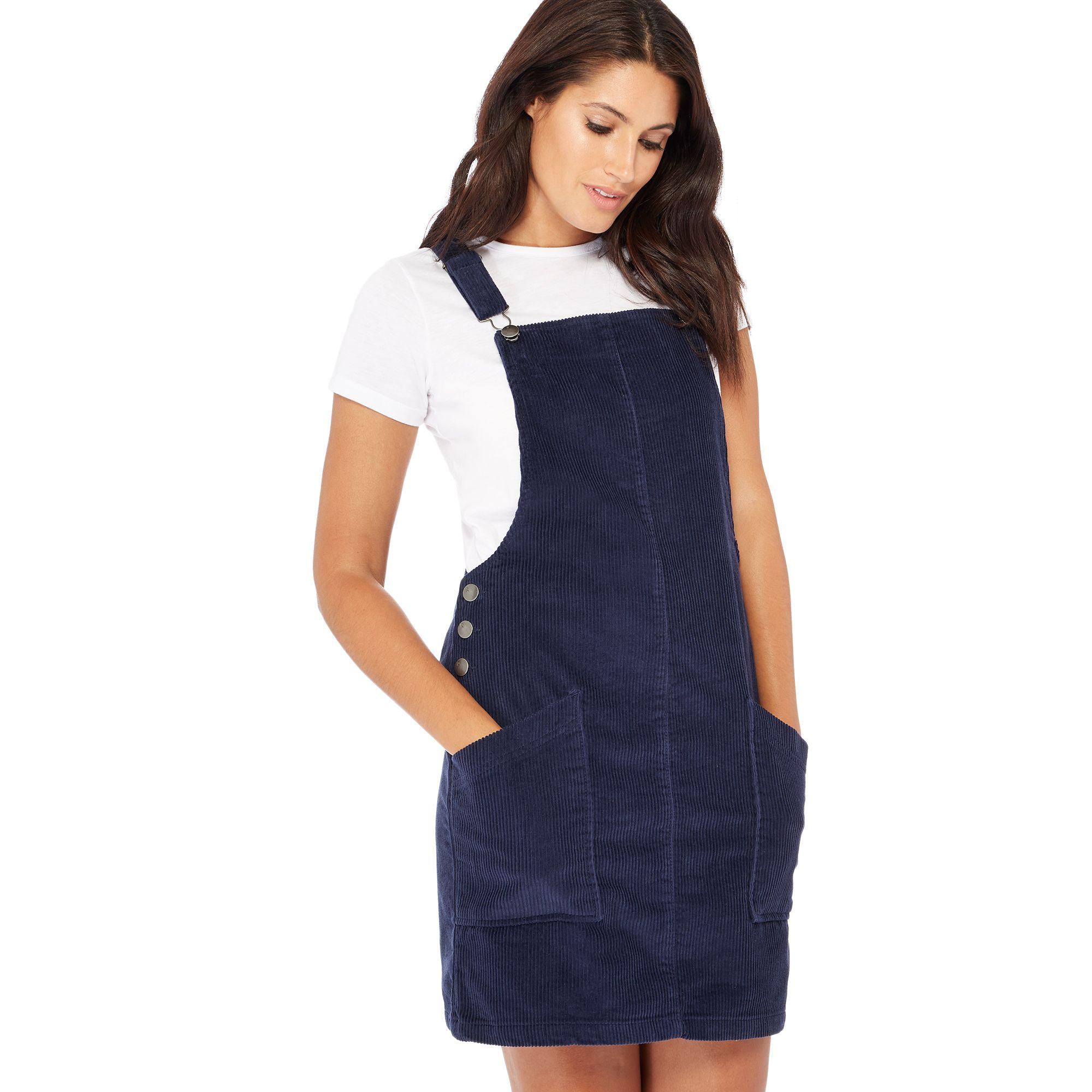 1e8d8aa8233 Red Herring Navy Cord Pinny Dress in Blue - Lyst