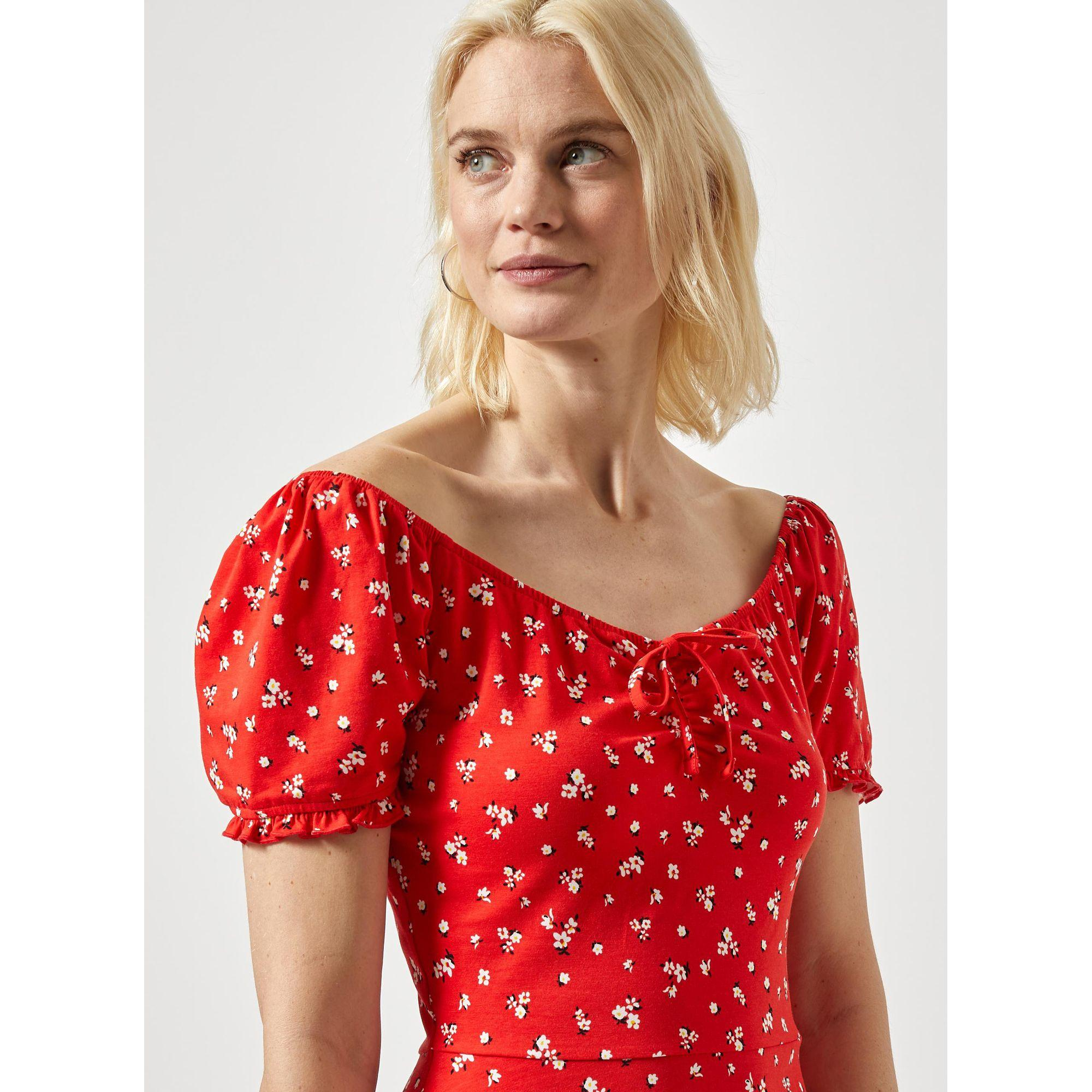 b59e22b150 Dorothy Perkins - Tall Red Ditsy Print Gypsy Skater Dress - Lyst. View  fullscreen