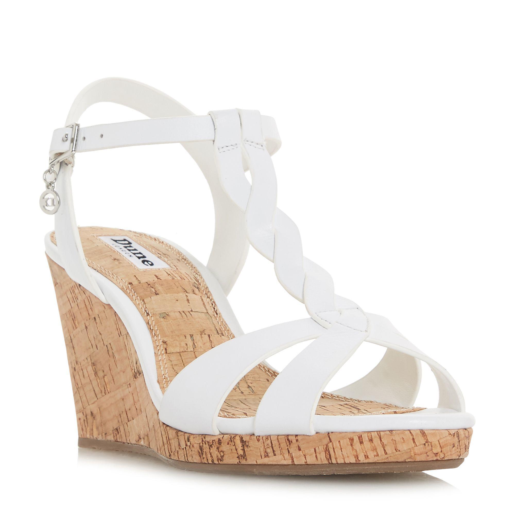 7e9b19d2cf97 Dune. Women s White Leather  koala  High Wedge Heel Ankle Strap Sandals