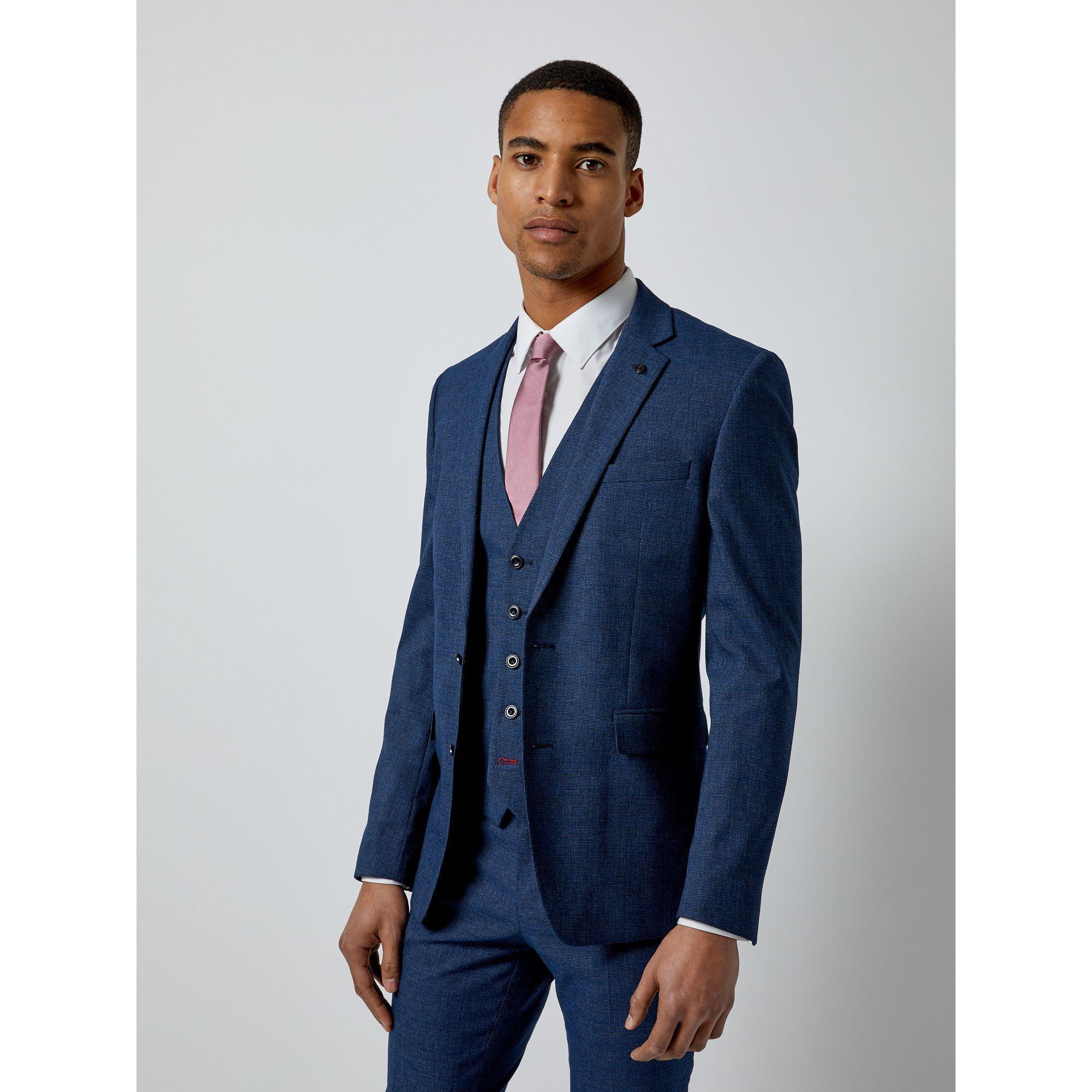 424334cec817 Burton - Blue Textured End On End Skinny Fit Suit Jacket for Men - Lyst.  View fullscreen