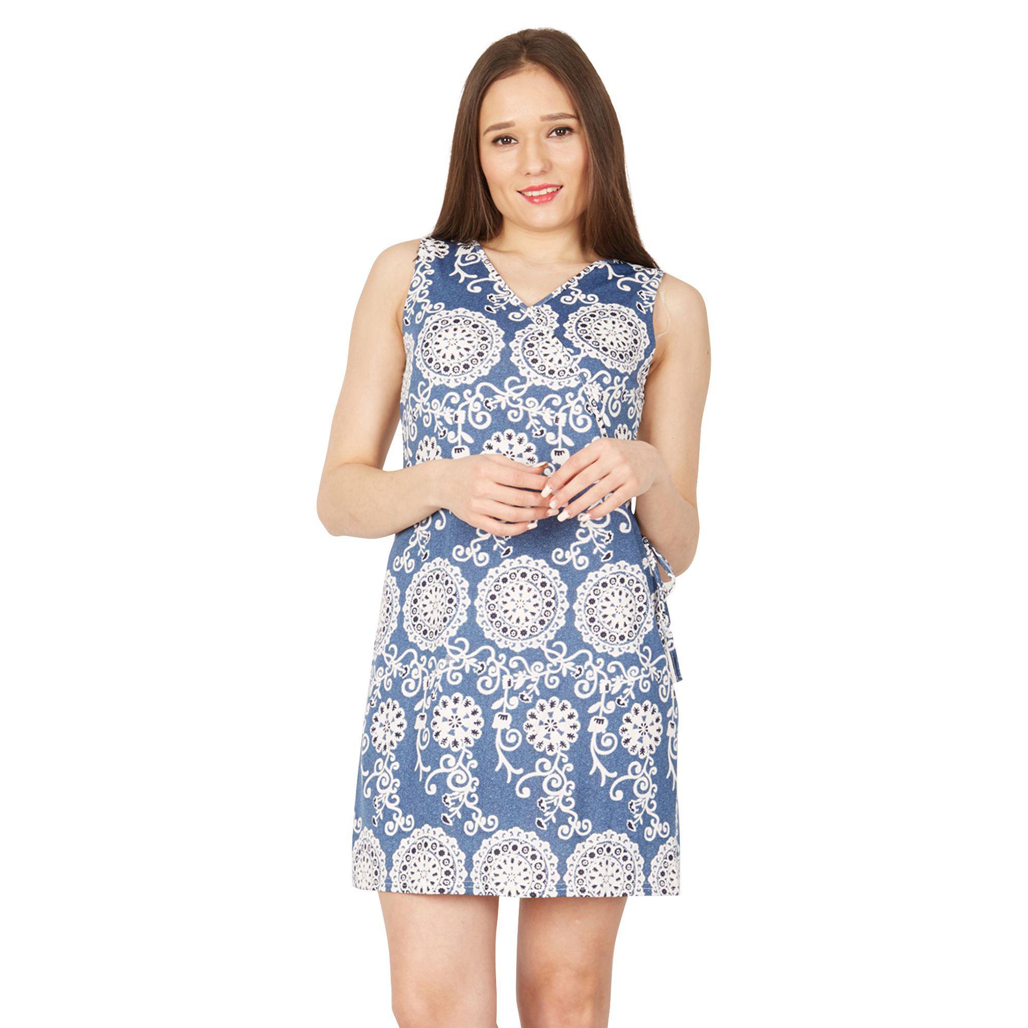 60bdd3c1815f Izabel London Blue Psychedelic Print Shift Dress in Blue - Lyst