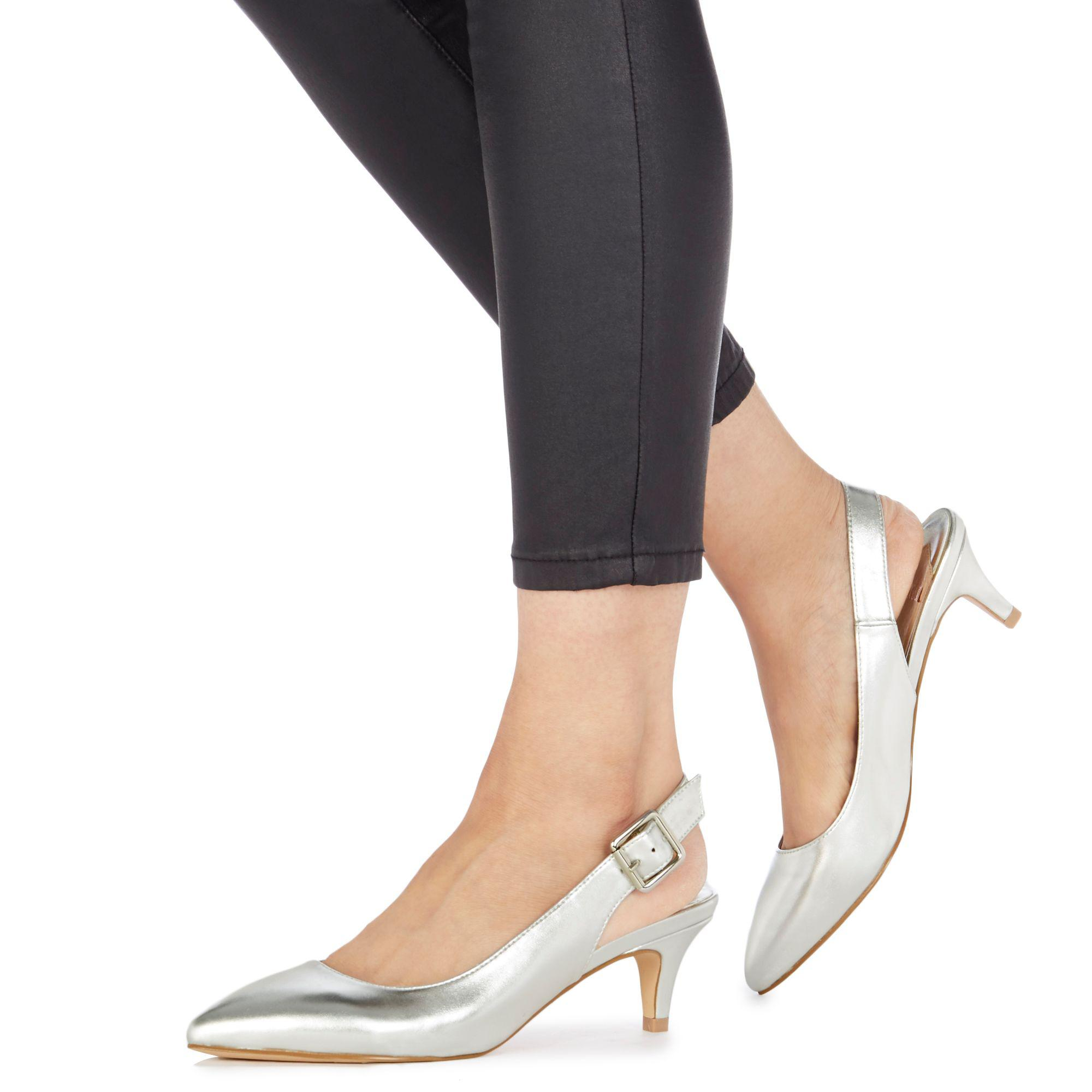 48964190de5 Faith Silver  citten  Mid Kitten Heel Slingbacks in Metallic - Lyst